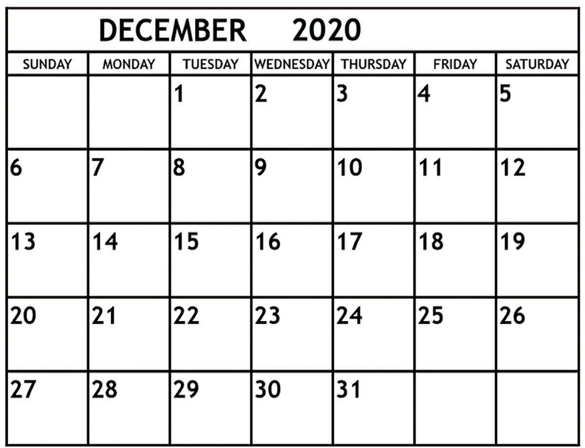 December 2020 Calendar December 2020 Printable Monthly in Calander December 2020