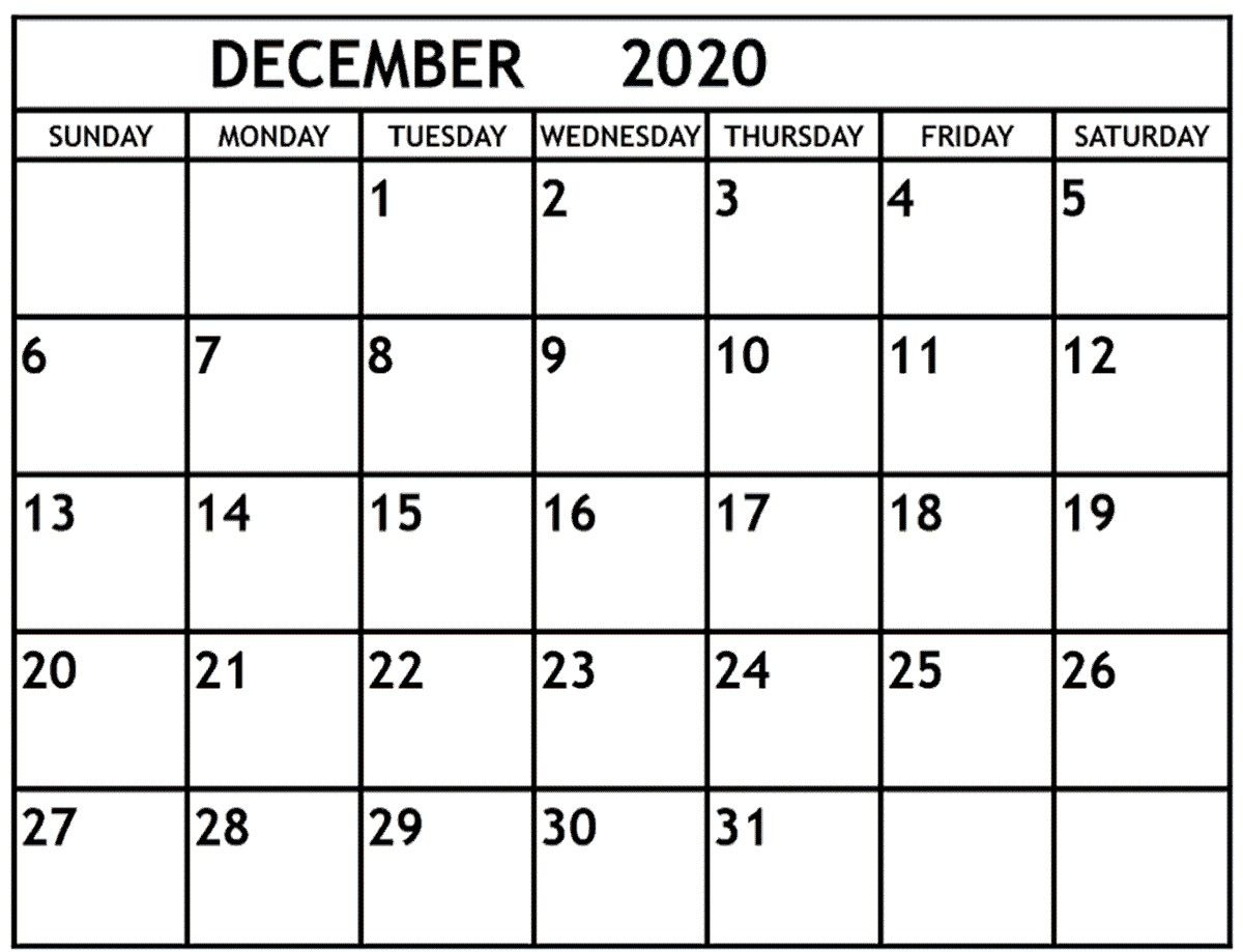 December 2020 Calendar December 2020 Printable Monthly inside Calander For December 2020