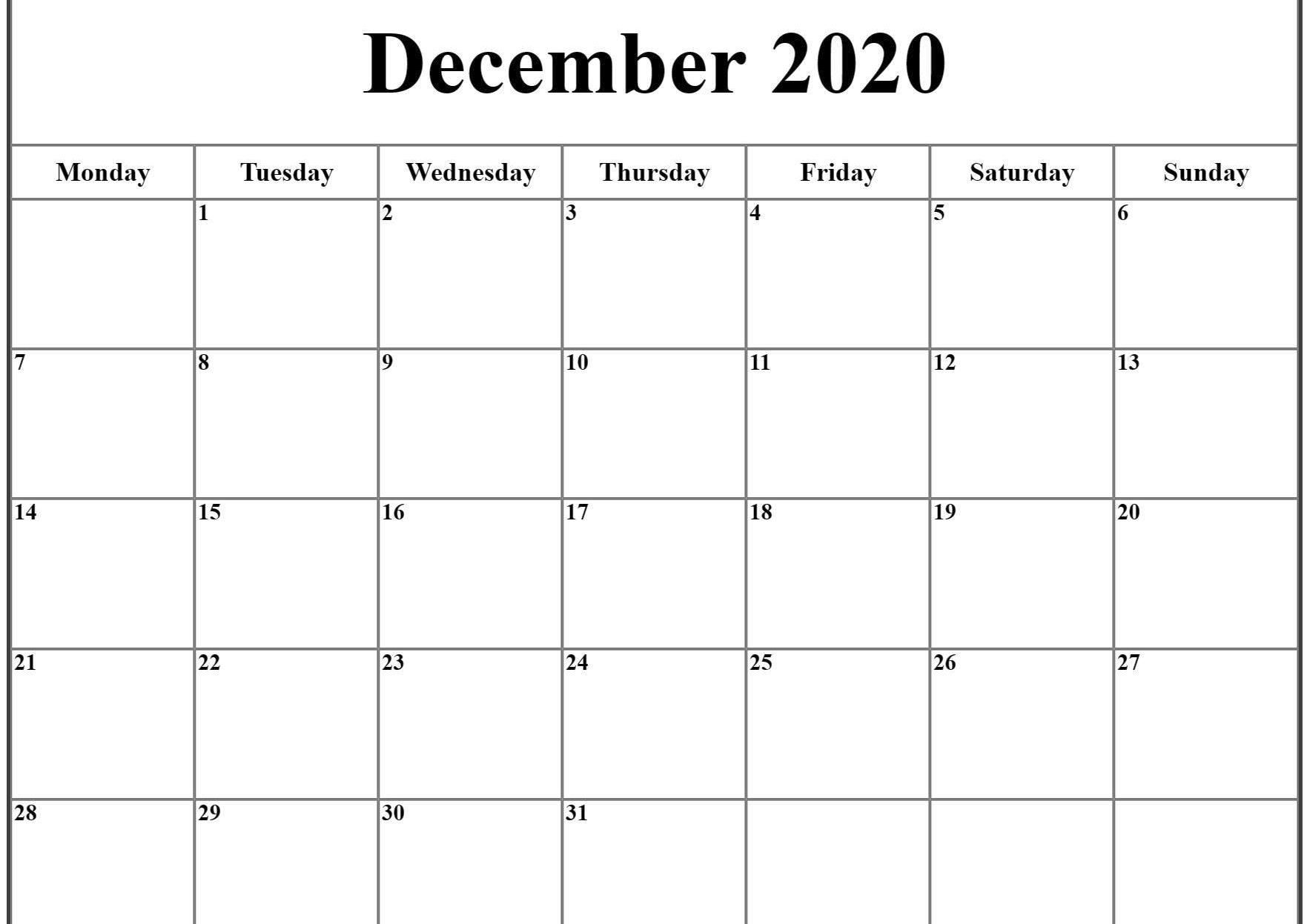 December 2020 Calendar Excel | December Calendar, Printable intended for Calander For December 2020