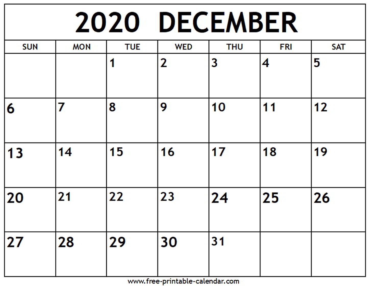 December 2020 Calendar  Freeprintablecalendar intended for Calander For December 2020