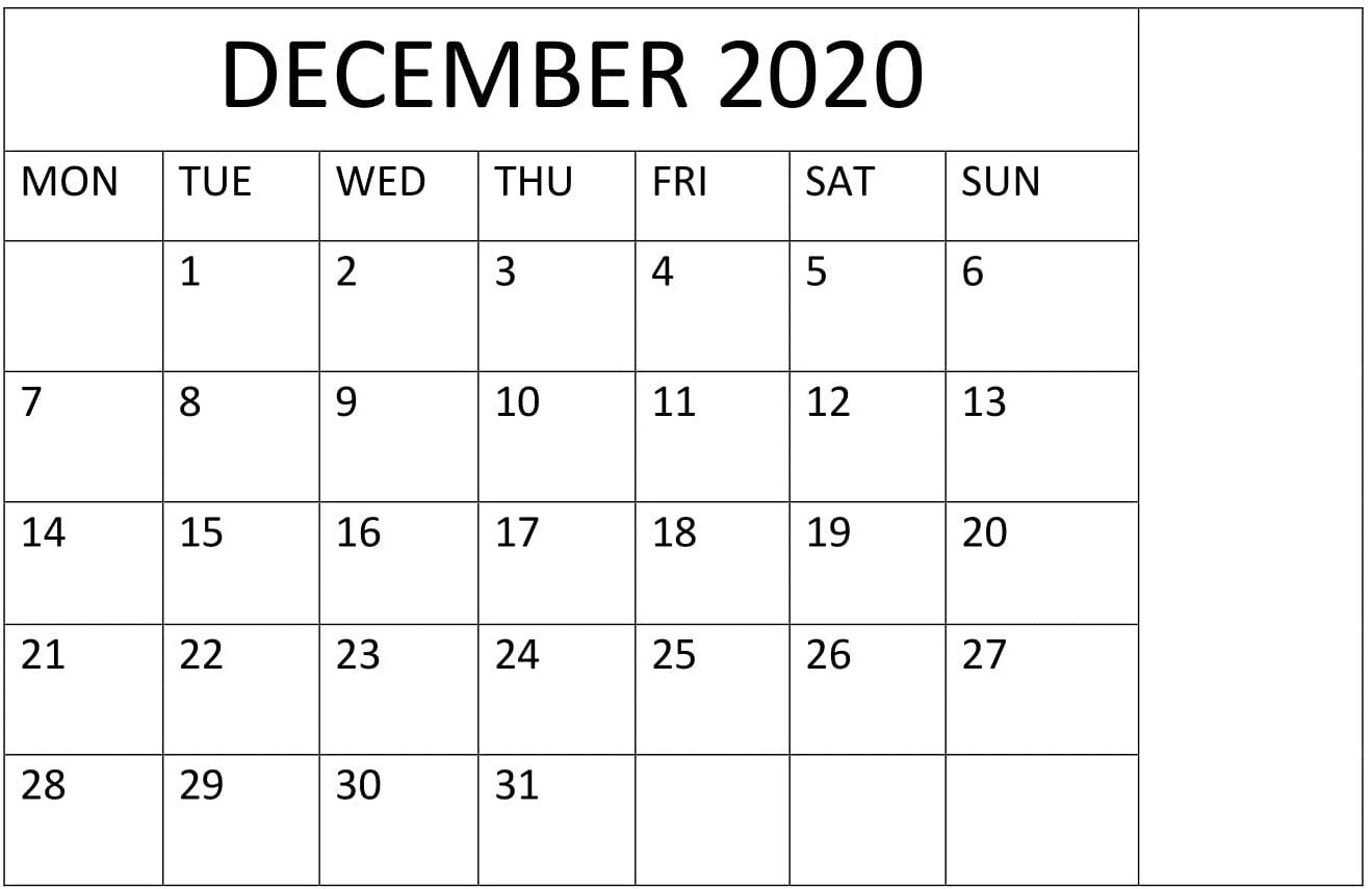 December 2020 Calendar Printable Large Print – Free Latest regarding Calander December 2020