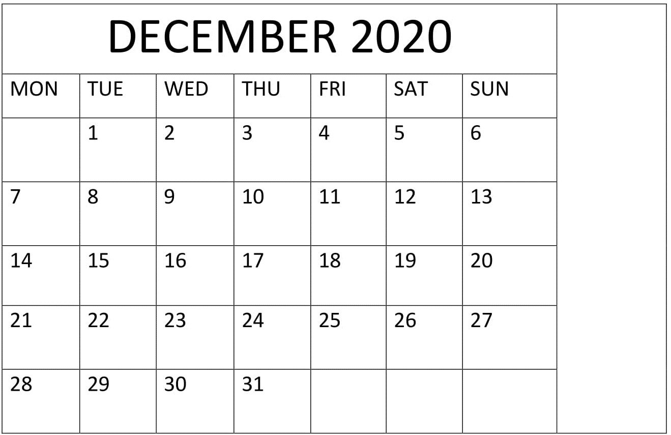 December 2020 Calendar Printable Large Print – Free Latest with regard to Calander For December 2020