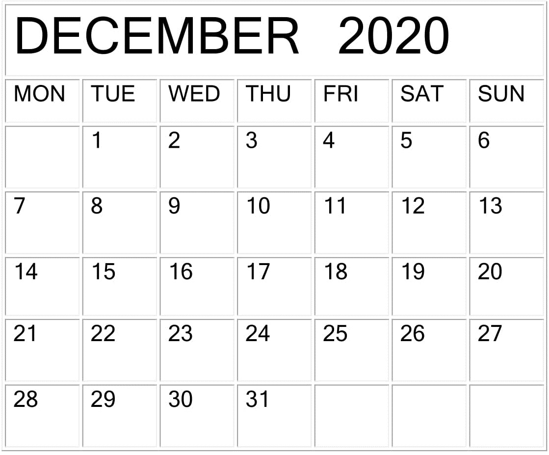 December 2020 Calendar Word Template – Free Latest Calendar in Calendar 2020 December