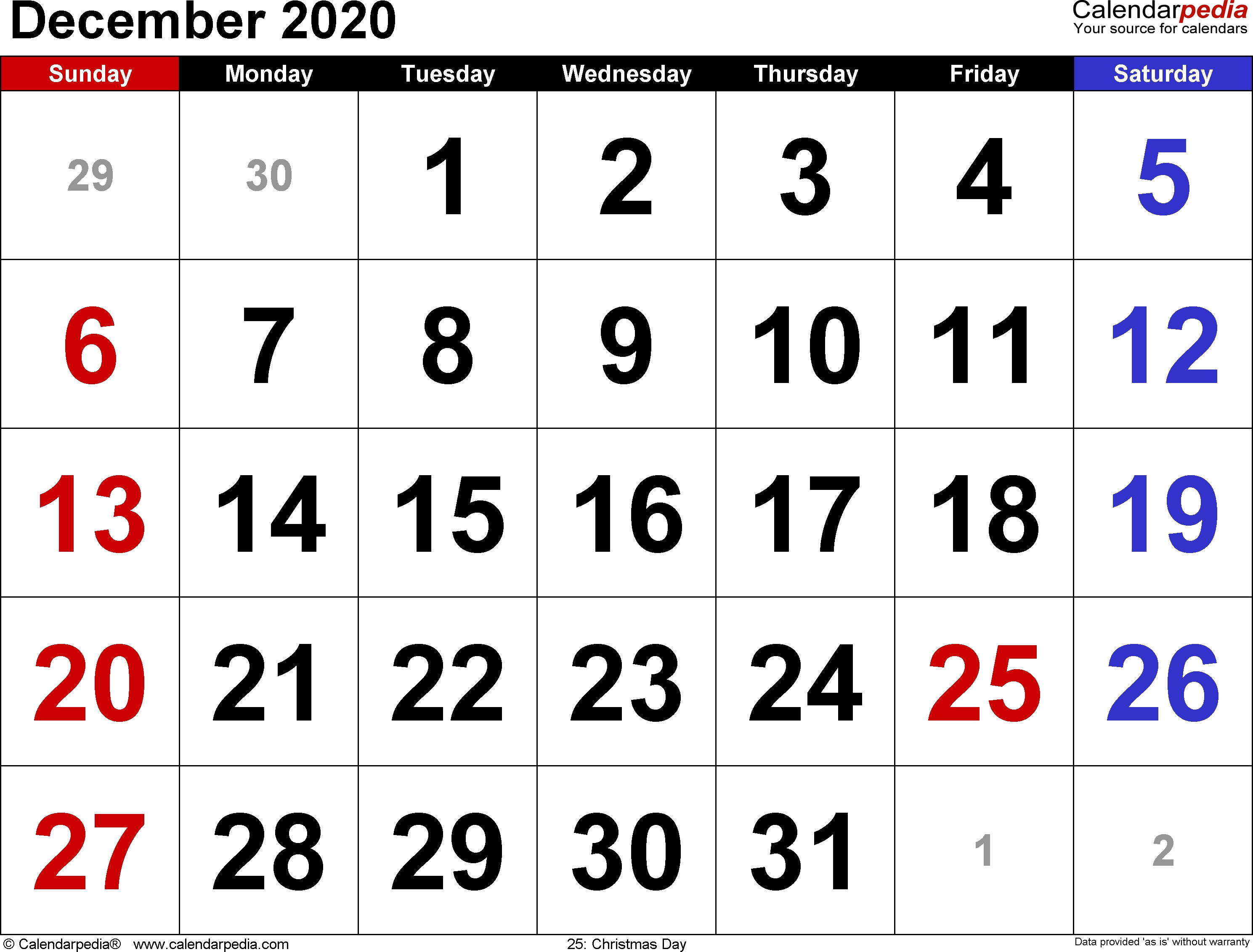 December 2020 Calendars For Word, Excel & Pdf Inside Monthly pertaining to Calendarpedia 2020 Excel