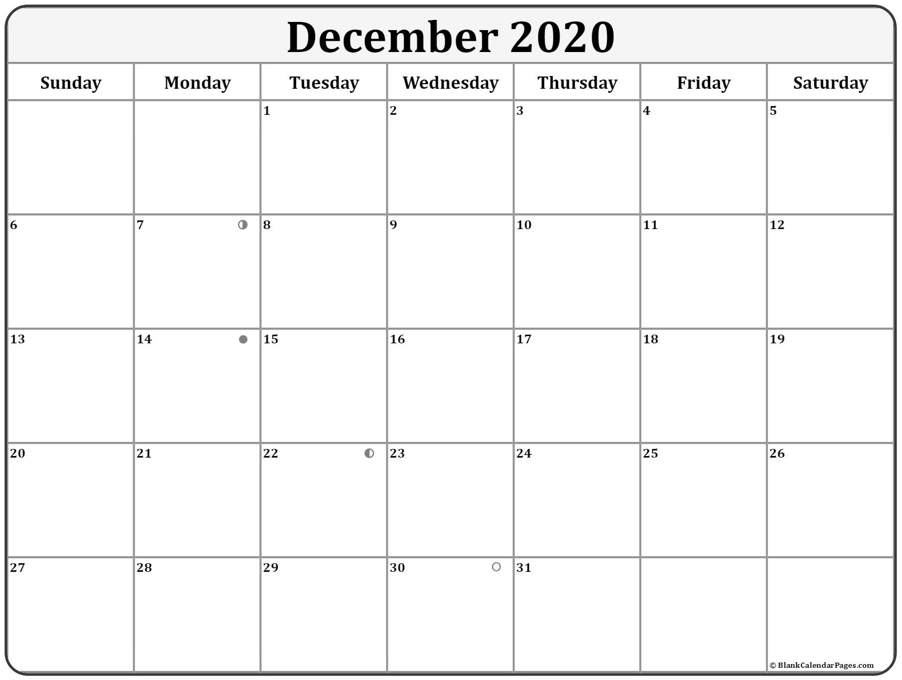 December 2020 Lunar Calendar | Moon Phase Calendar with regard to 123 Calendars December 2020