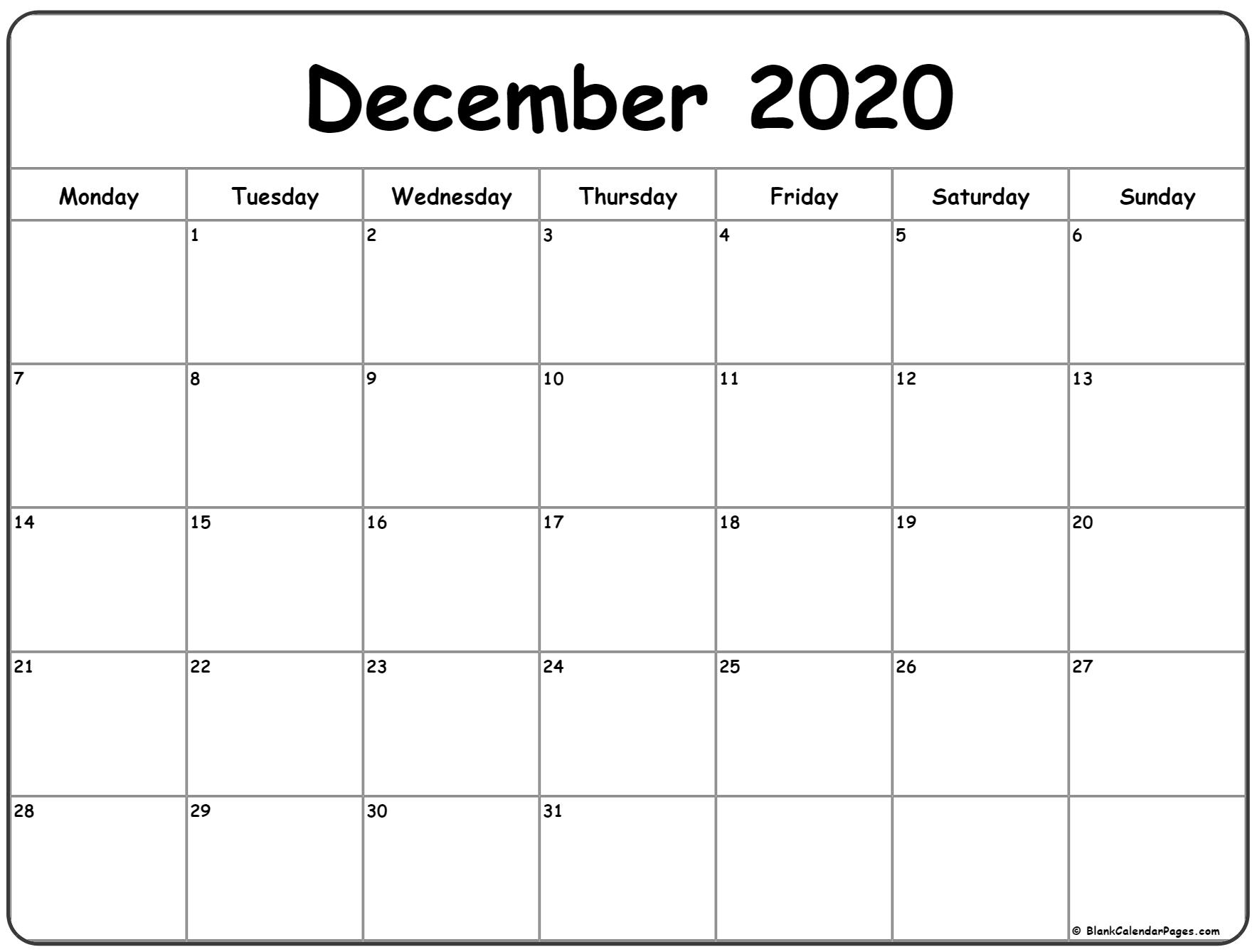 December 2020 Monday Calendar | Monday To Sunday within Calander For December 2020