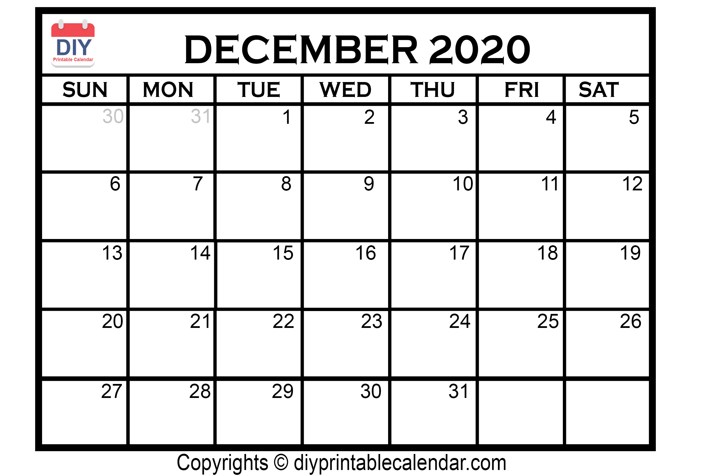 December 2020 Printable Calendar Template throughout Calander For December 2020