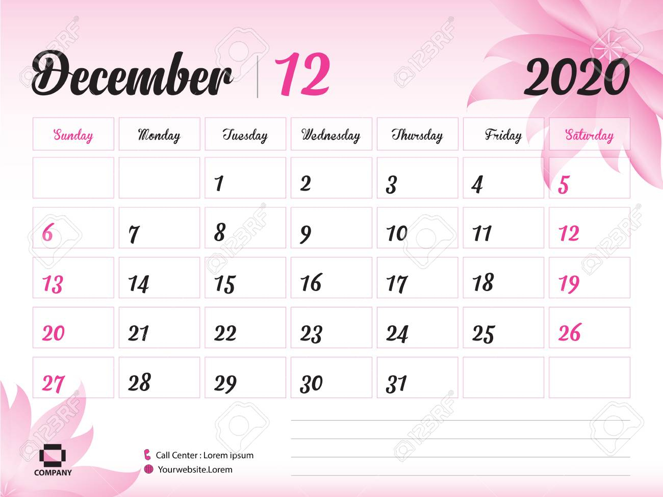 December 2020 Year Template, Calendar 2020, Desk Calendar Design,.. within Calander December 2020