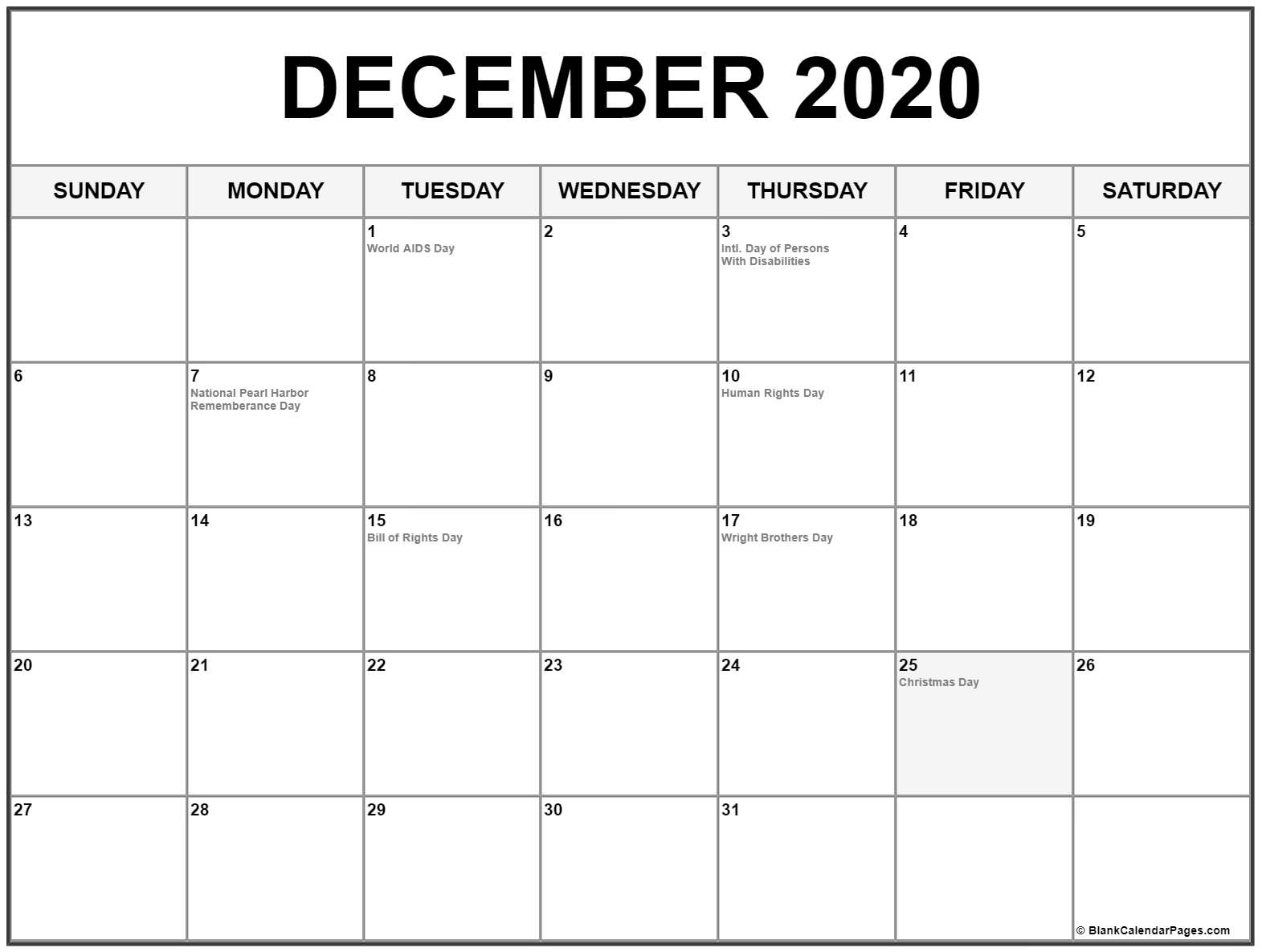 December Calendar 2020  Bolan.horizonconsulting.co for Calander December 2020