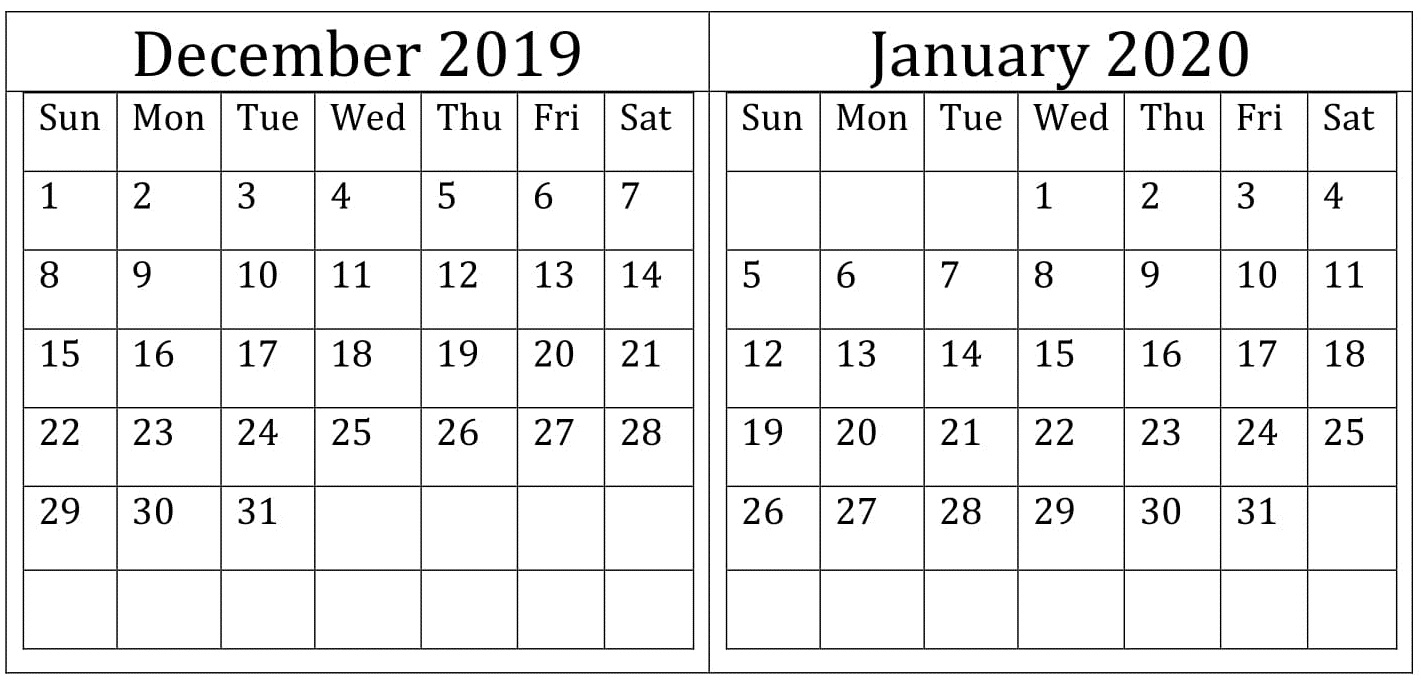 December January 2020 Calendar Excel, Word Printable pertaining to Max 30 Calendar Pdf