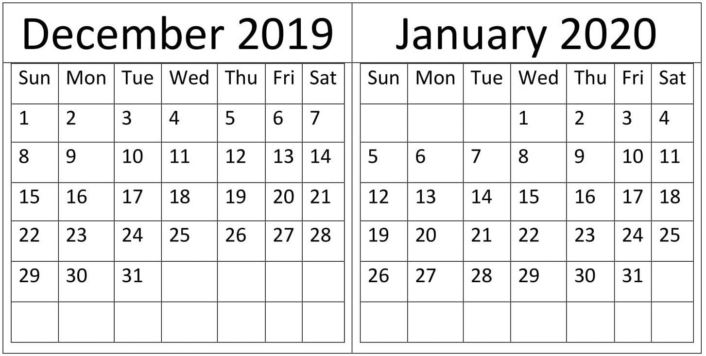 December January 2020 Calendar Holidays Template – Free inside Jan 2020 Holiday