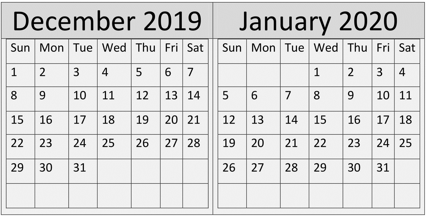 December January 2020 Calendar Holidays Template – Free intended for Jan 2020 Holiday