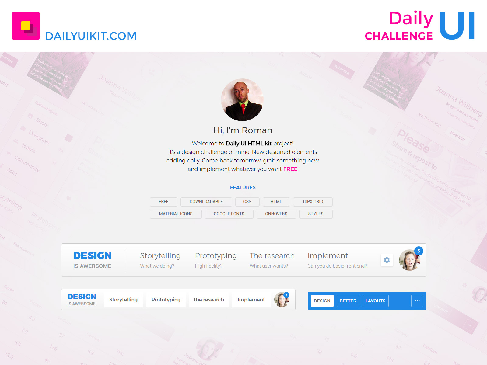 Design Challenge  Daily Ui Kit | Free Psd | Ui Download intended for Daily Css Challenge