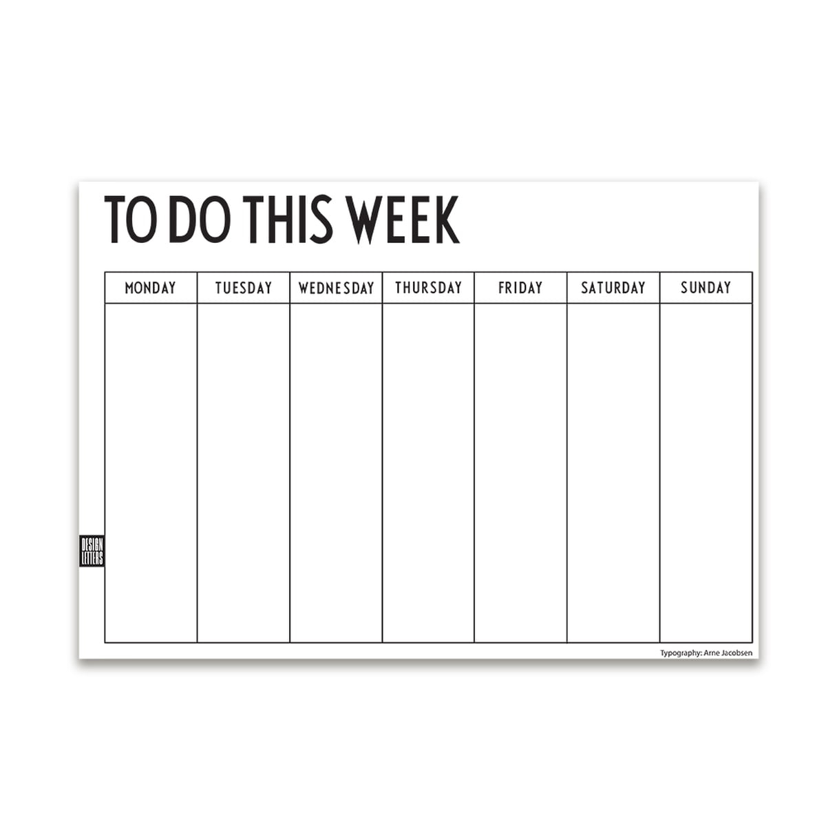 Design Letters  Weekly Planner A4 pertaining to Monday To Friday Planner