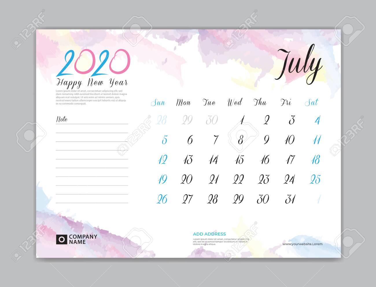 Desk Calendar For 2020 Year, July 2020 Template, Week Start On.. intended for July Of 2020
