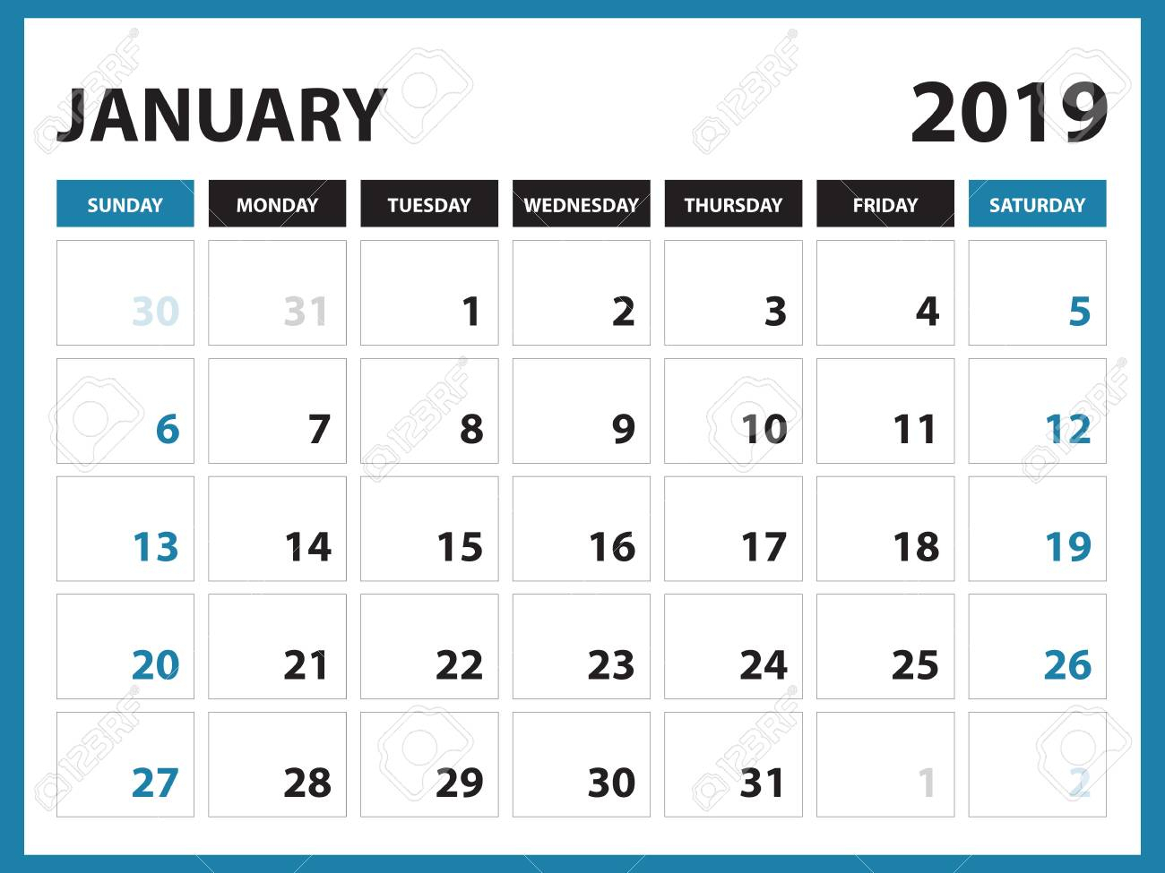 Desk Calendar For January 2019 Template, Printable Calendar,.. intended for Printable Calendar By Week