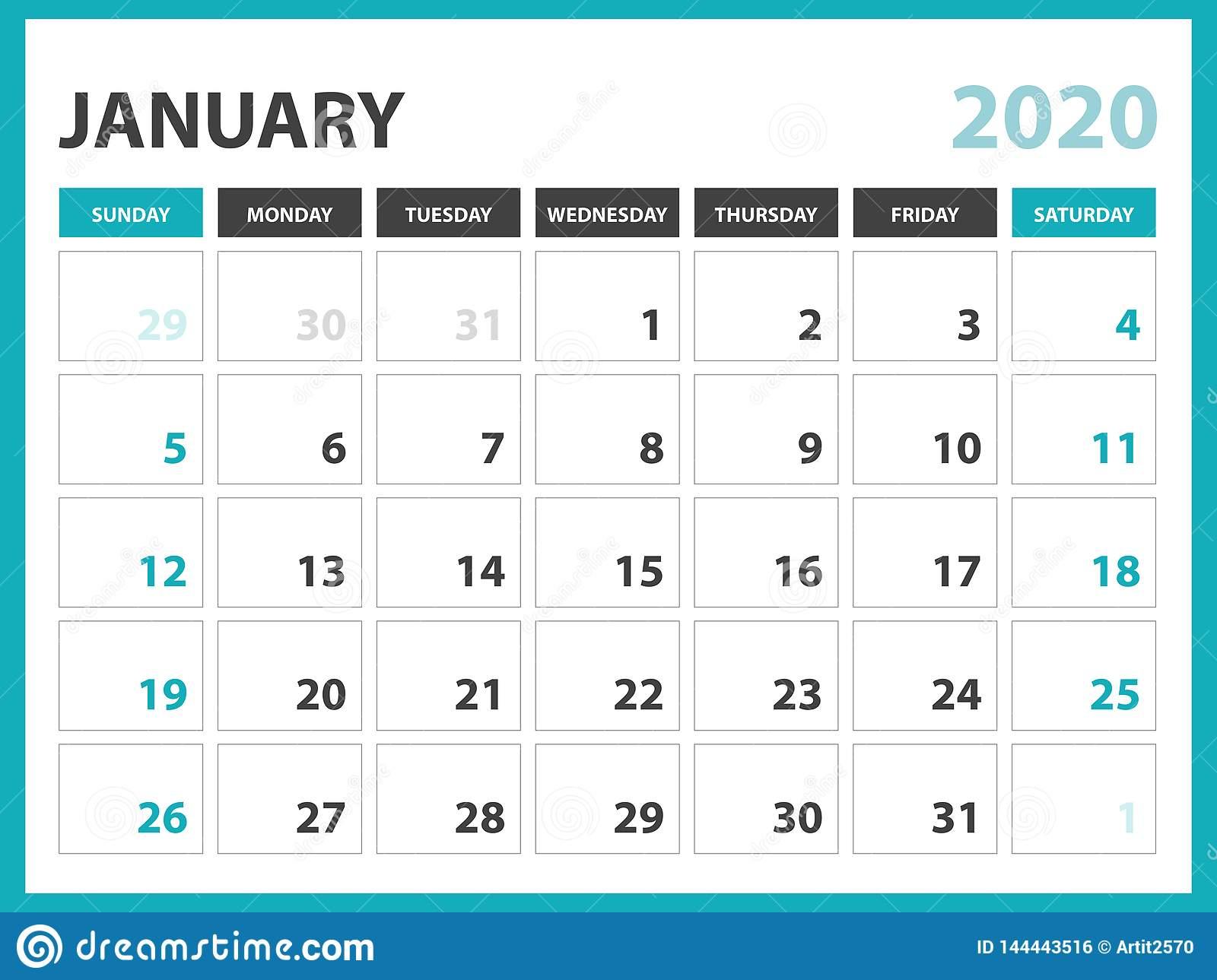 Desk Calendar Layout Size 8 X 6 Inch, January 2020 Calendar intended for January 2020 Calendar Starting Monday