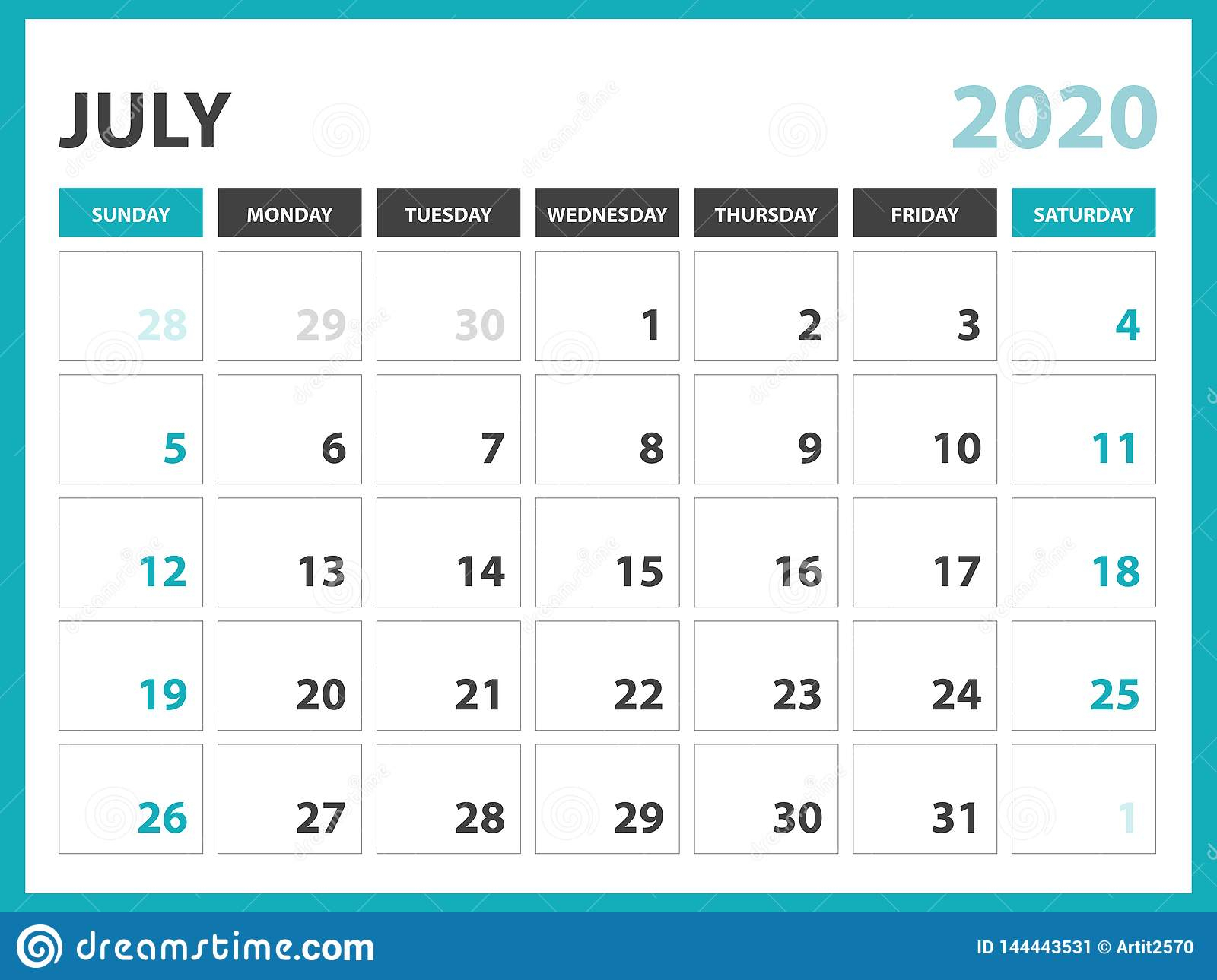 Desk Calendar Layout Size 8 X 6 Inch, July 2020 Calendar with regard to July Of 2020