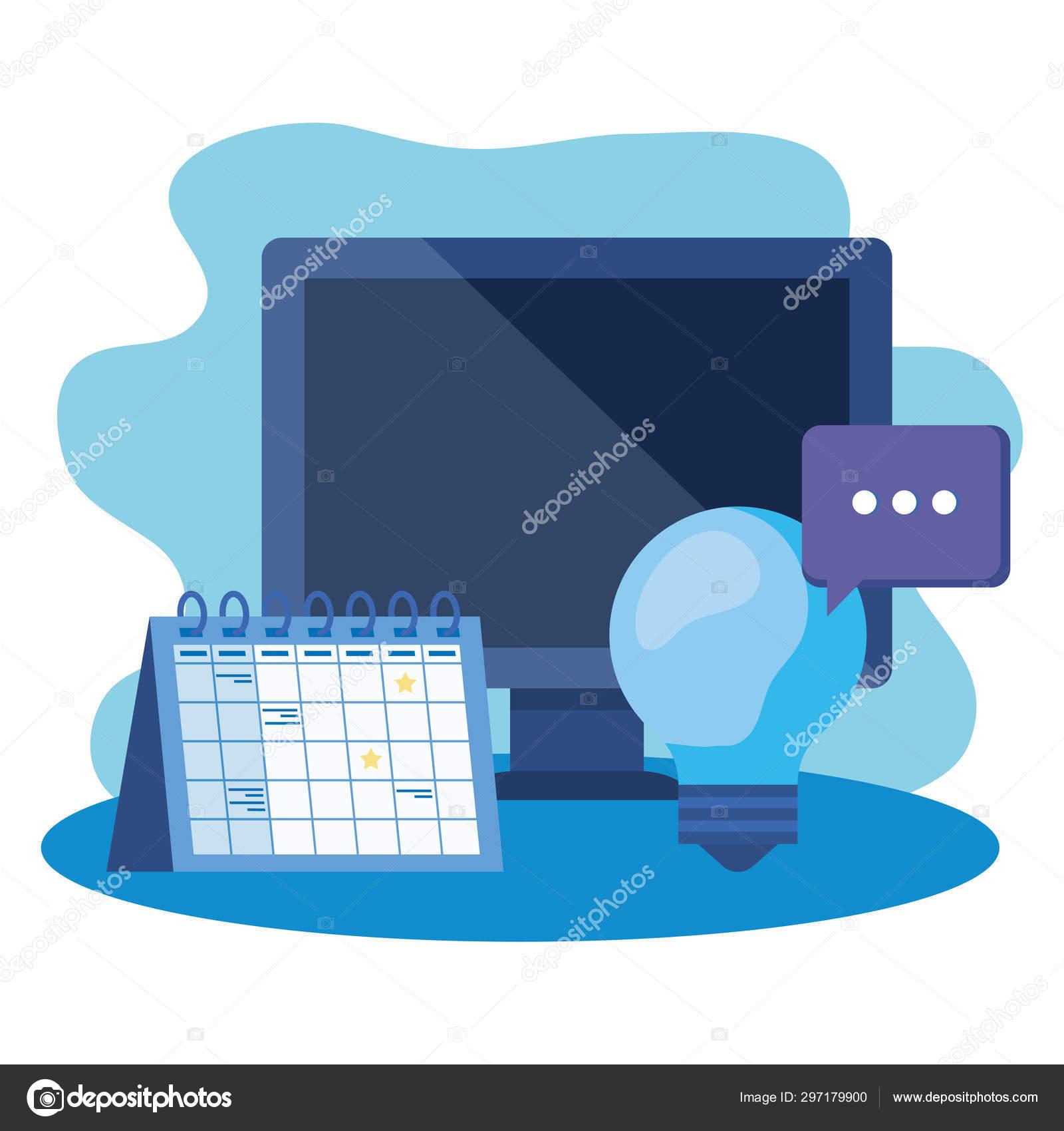 Desktop Computer With Calendar Reminder — Stock Vector within Desktop Reminder Gadget