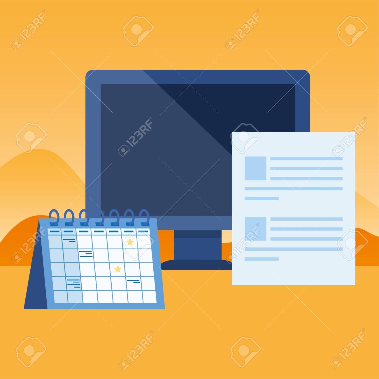 Desktop Computer With Calendar Reminder Vector Illustration Design for Calendar Reminder For Desktop