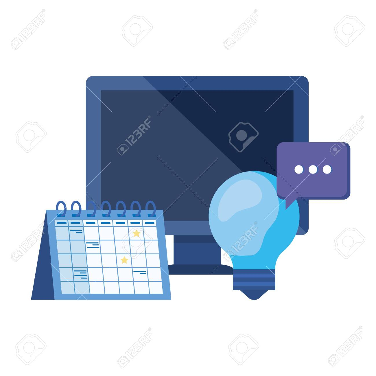Desktop Computer With Calendar Reminder Vector Illustration Design in Desktop Calendar Reminder Free Full Version