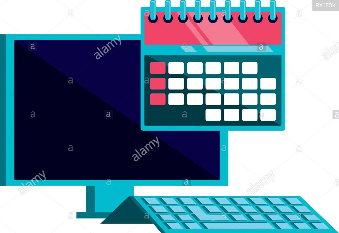 Desktop Computer With Calendar Reminder Vector Illustration throughout Calendar Reminder For Desktop