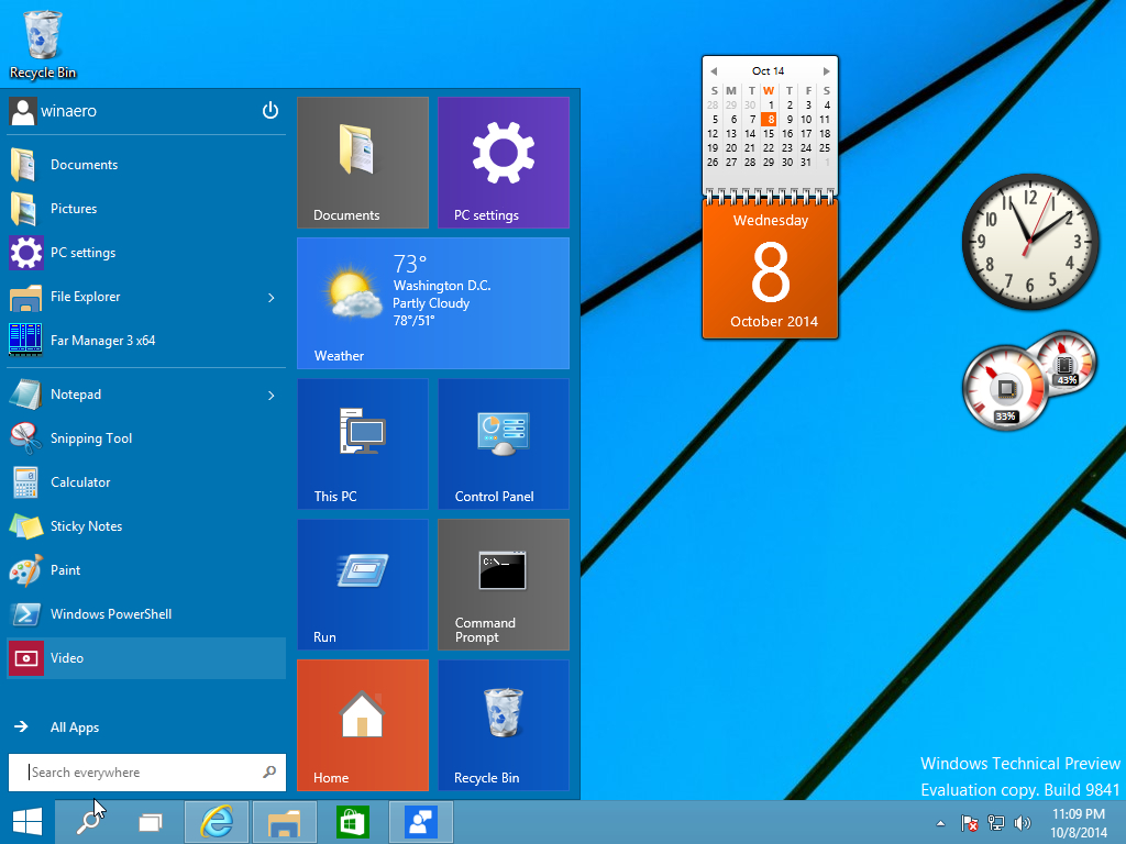Desktop Gadgets And Sidebar For Windows 10 for Windows 10 Desktop Calendar