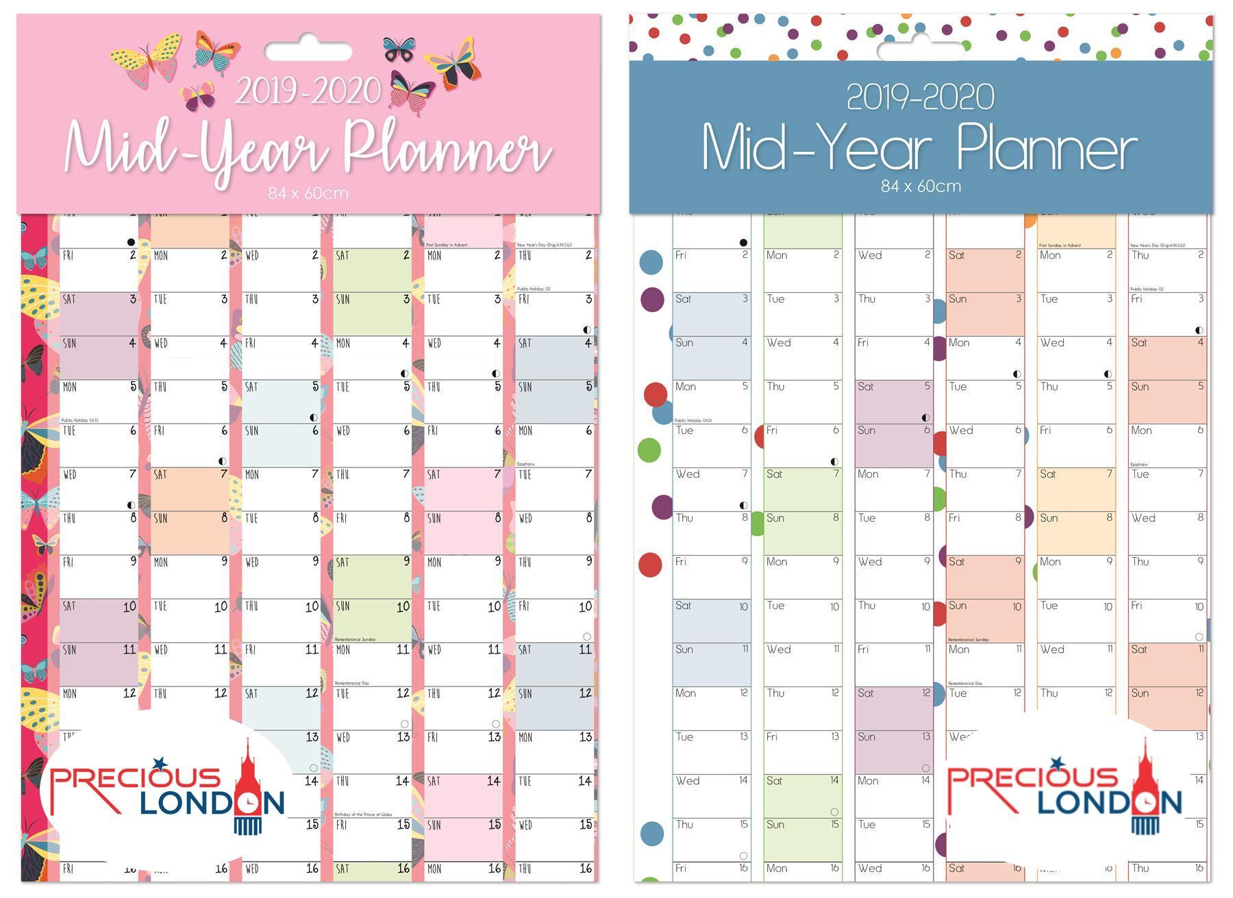 Details About 2019 2020 Large Academic Mid Year Wall Planner Calendar A1  Size 840 X 600Mm pertaining to School Calendar 2020 Mauritius