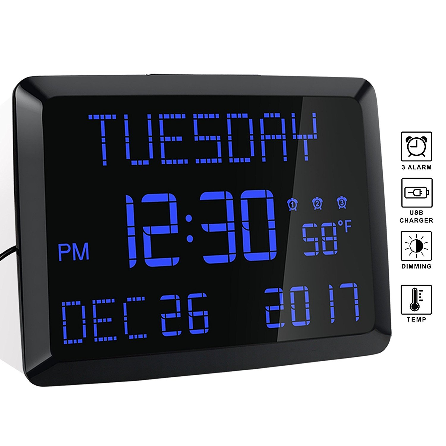 Details About Day Clock, 11.5' Extra Large Display Led Digital Desk And  Wall Calendar Alarm 3 for Extra Large Photo Calendar