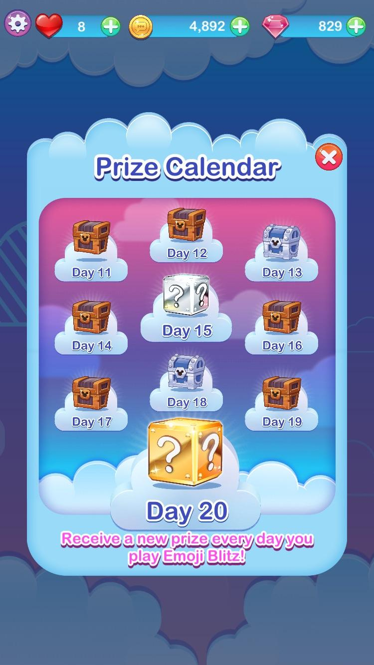 Did Anyone Else Get A 2Nd Page Of The Prize Calendar in Emoji Blitz Calendar