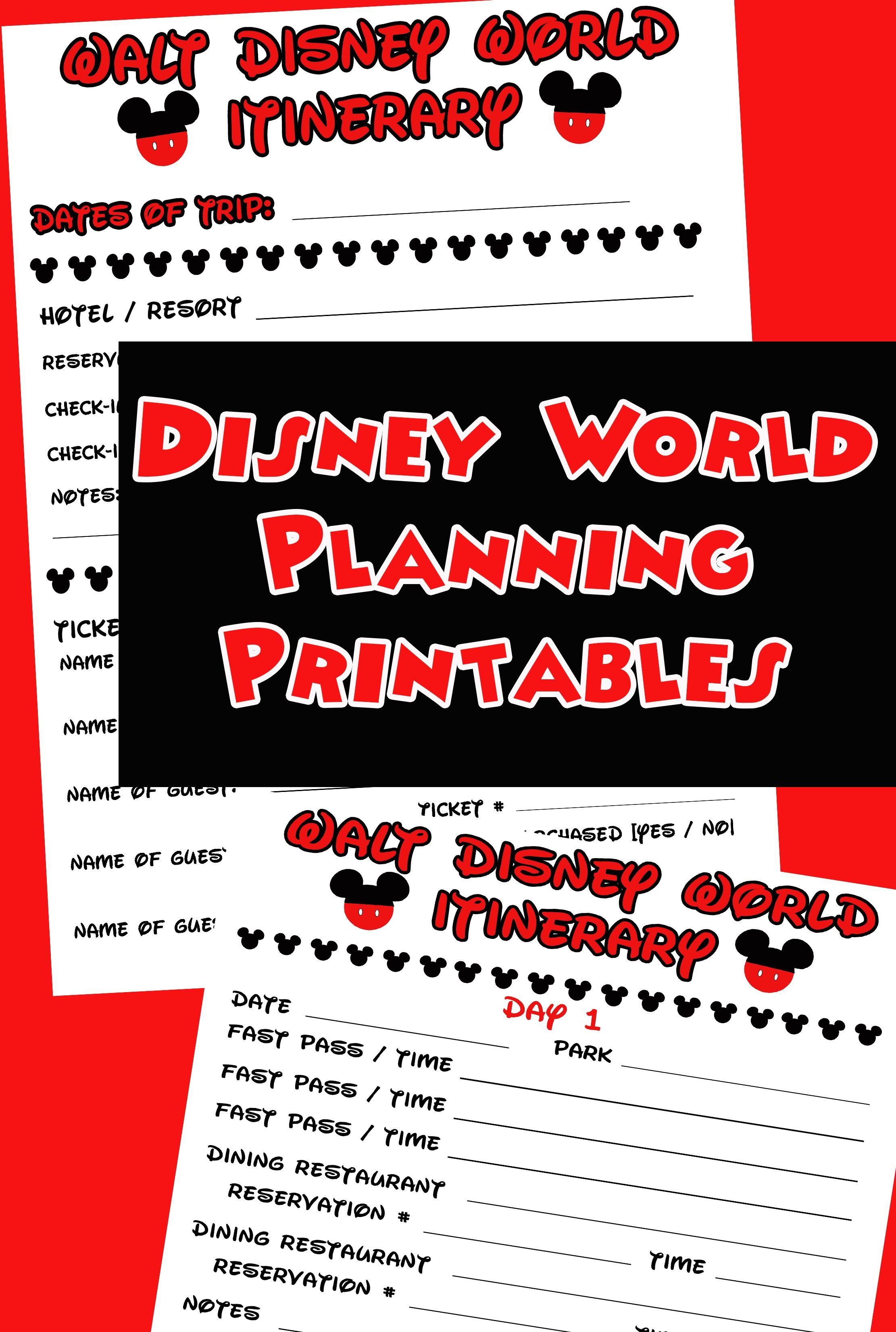 Disney Agenda & Itinerary Free Printable | Disney World 2017 intended for Printable Disney Itinerary