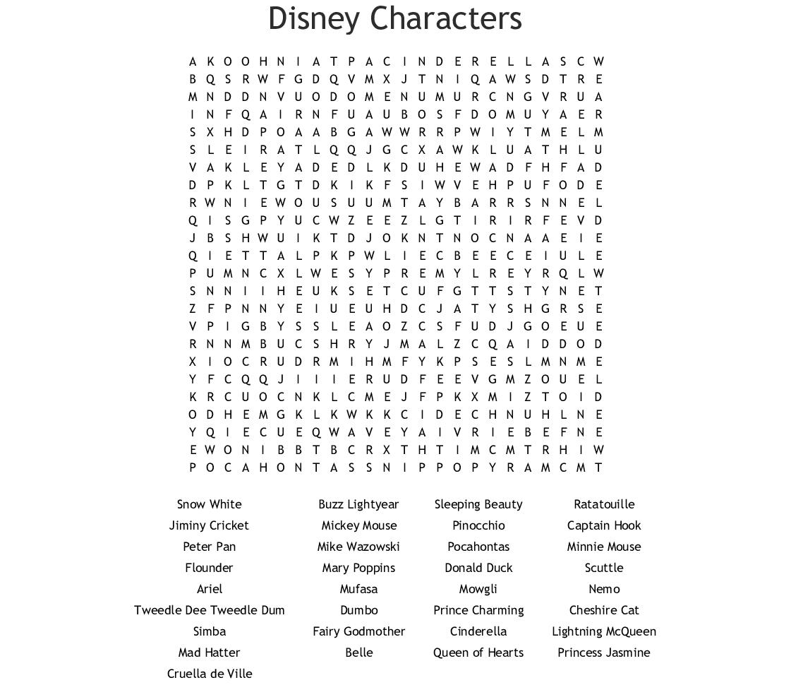 Disney Characters Word Search  Wordmint inside Printable Disney Word Search