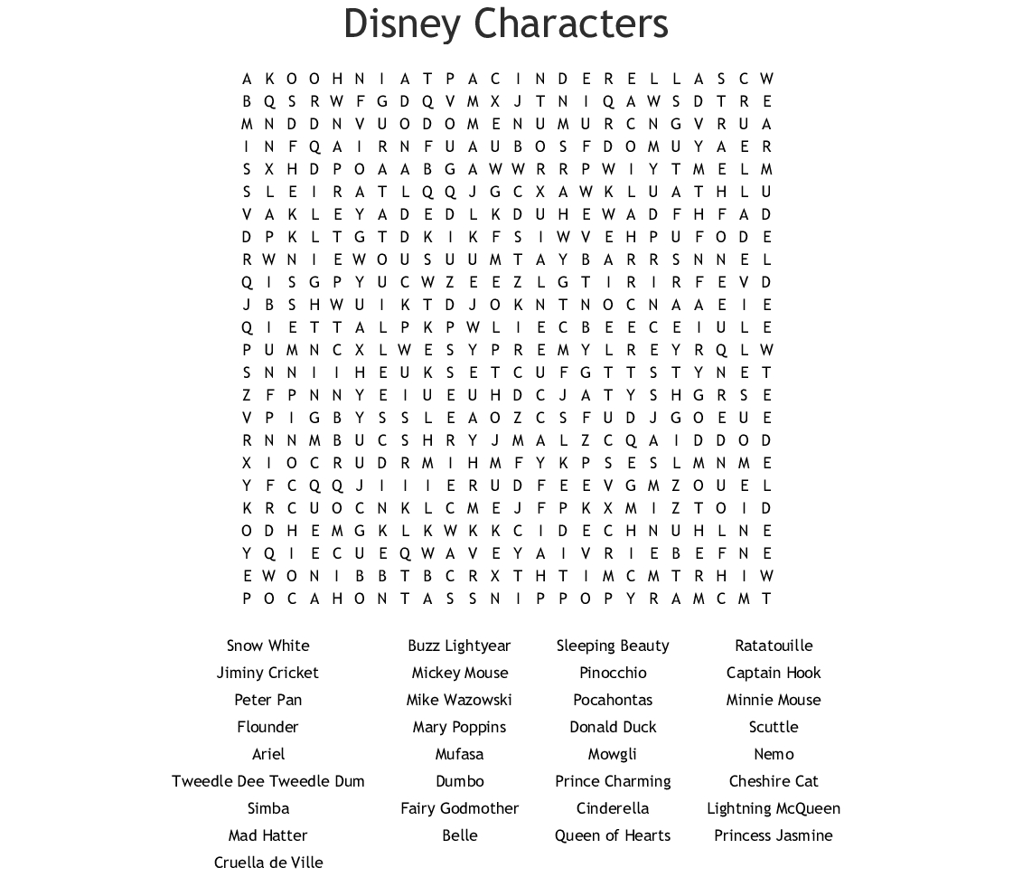 Disney Characters Word Search  Wordmint with Disney Word Search Printable