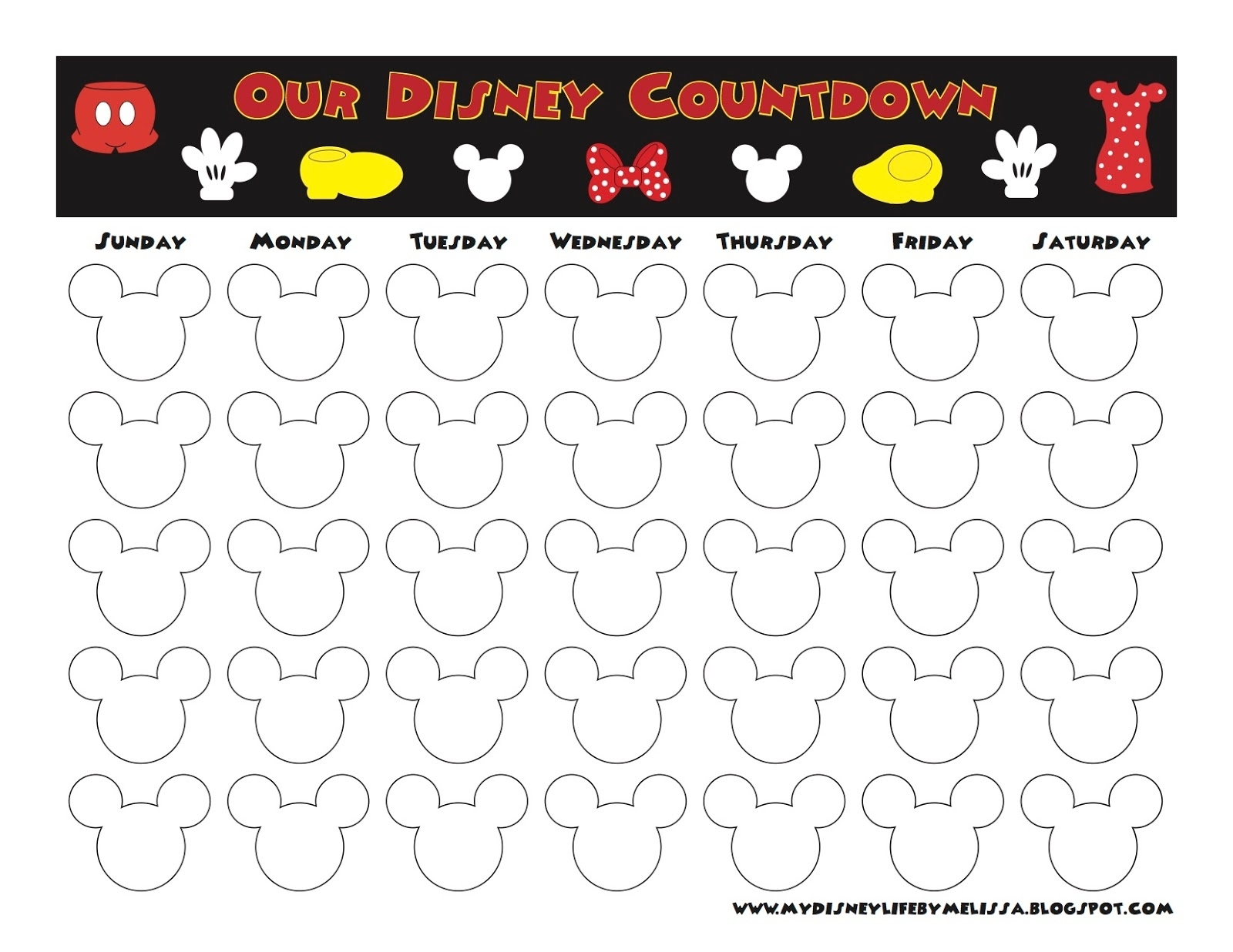Disney Countdown Calendar Template | Monthly Printable Calender in Disney World Countdown Calendar Printable