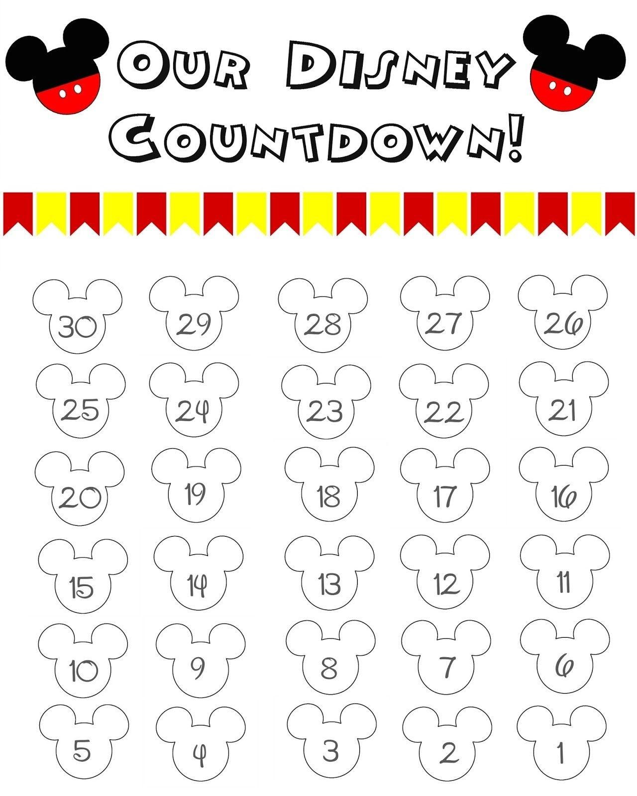 Disney Countdown Calendar Template | Monthly Printable Calender pertaining to Make A Countdown Calendar Printable