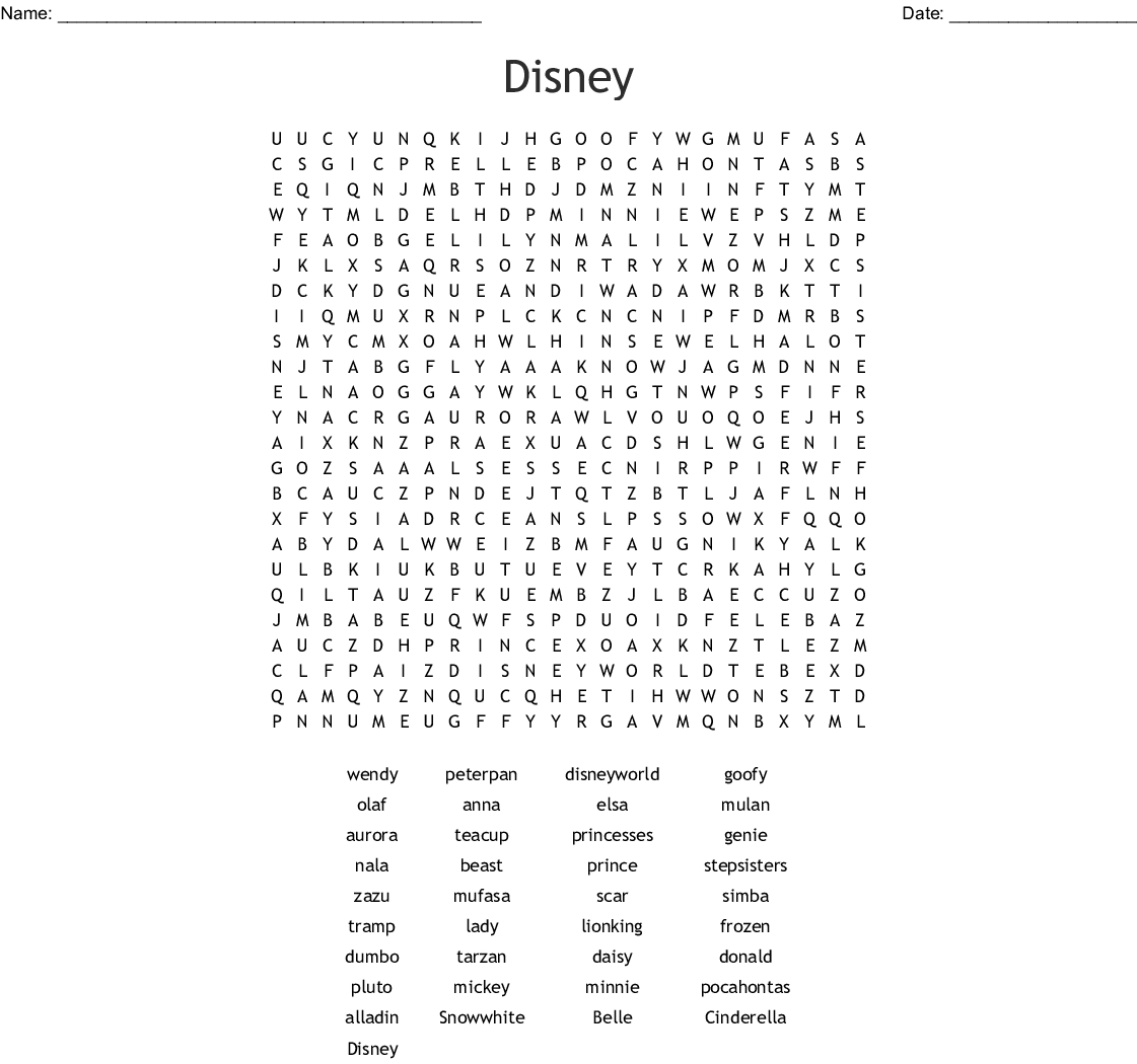 Disney Films Word Search  Wordmint throughout Disney Princesses Word Search