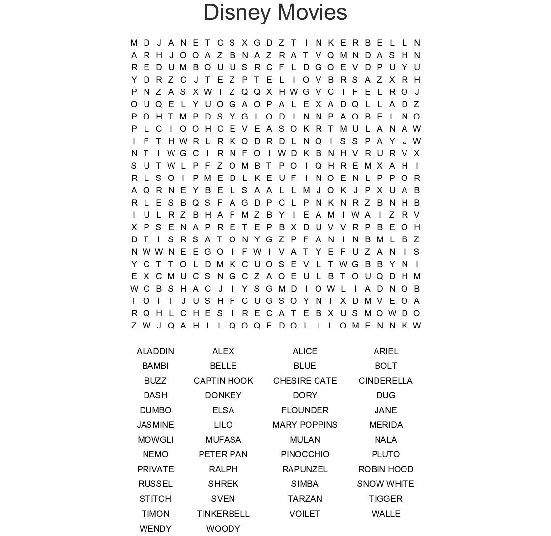 Disney Films Word Search  Wordmint throughout Printable Disney Word Search