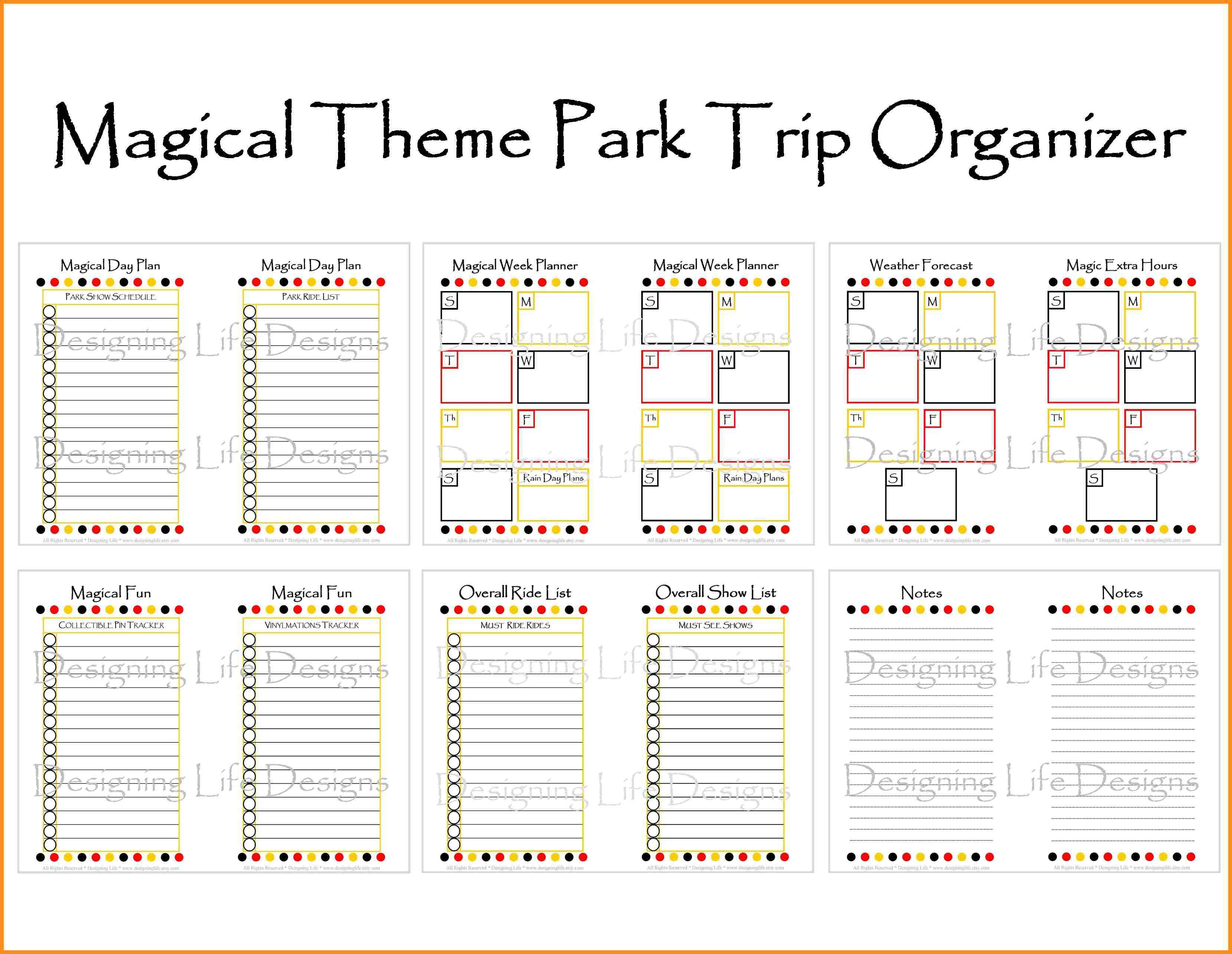 Disney Itinerary Template  Bolan.horizonconsulting.co with regard to Disney Vacation Planner Template