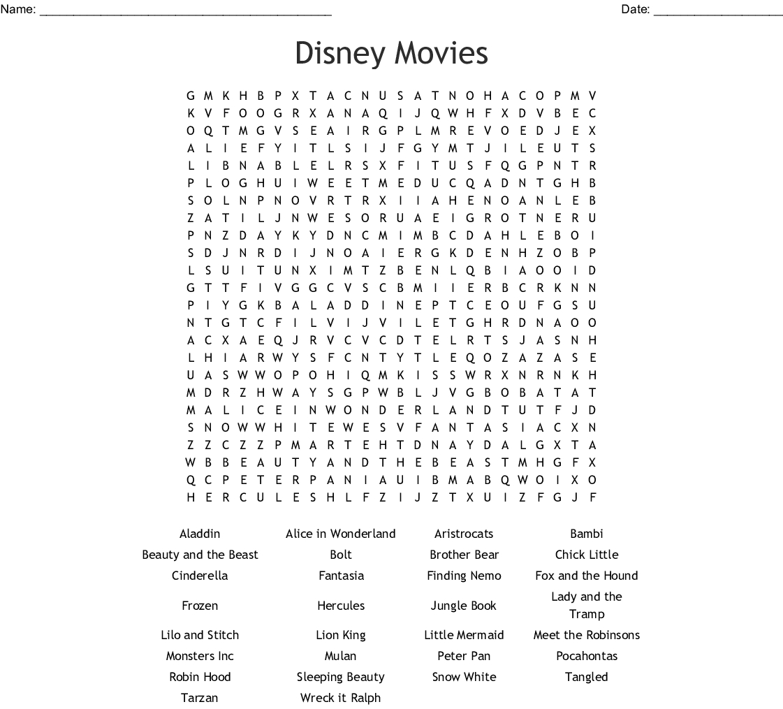 Disney Movies Word Search  Wordmint regarding Disney Word Search Printable