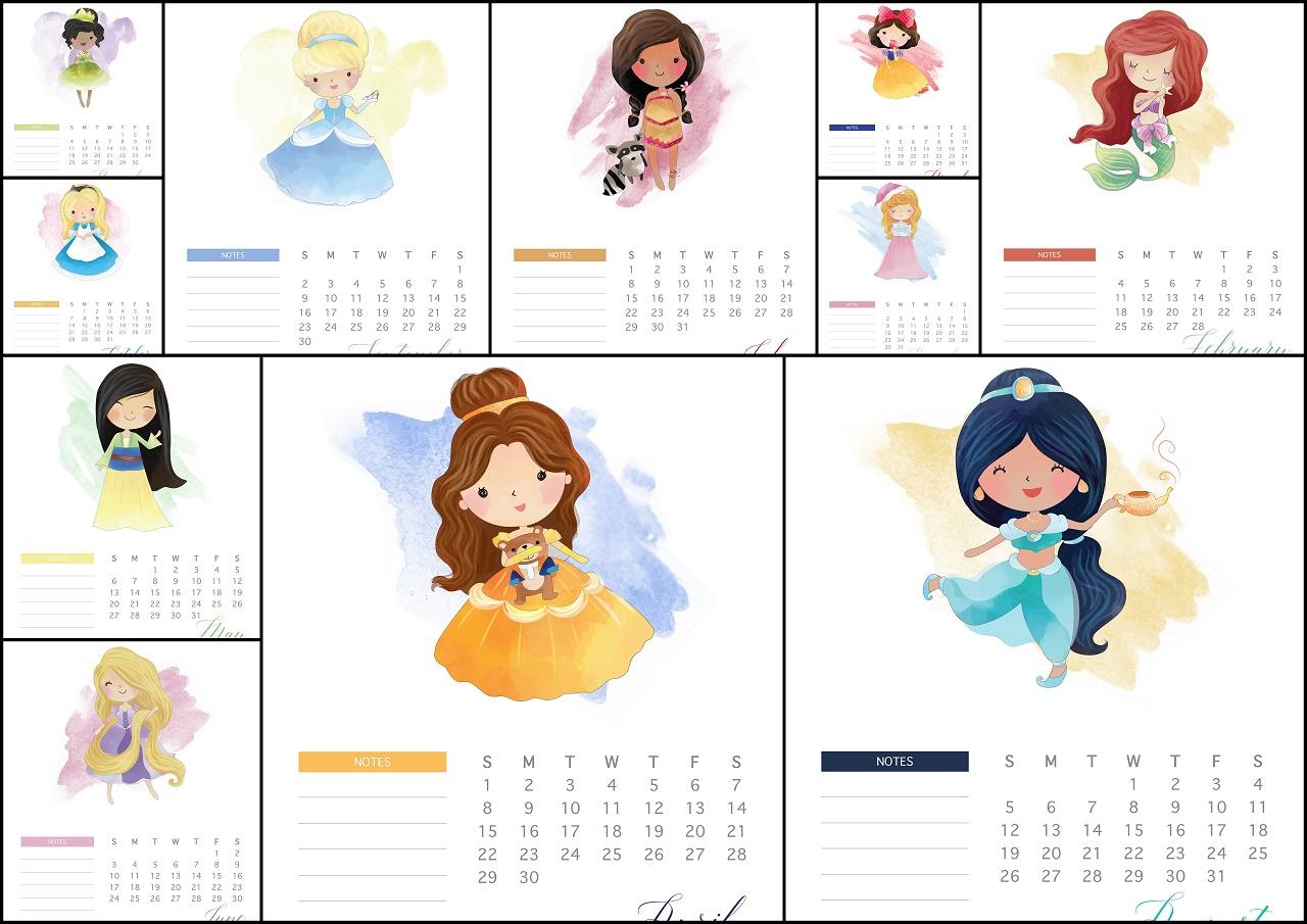 Disney Princess 2018 Free Printable Calendar.  Oh My Fiesta for Printable Disney Calendar 2020