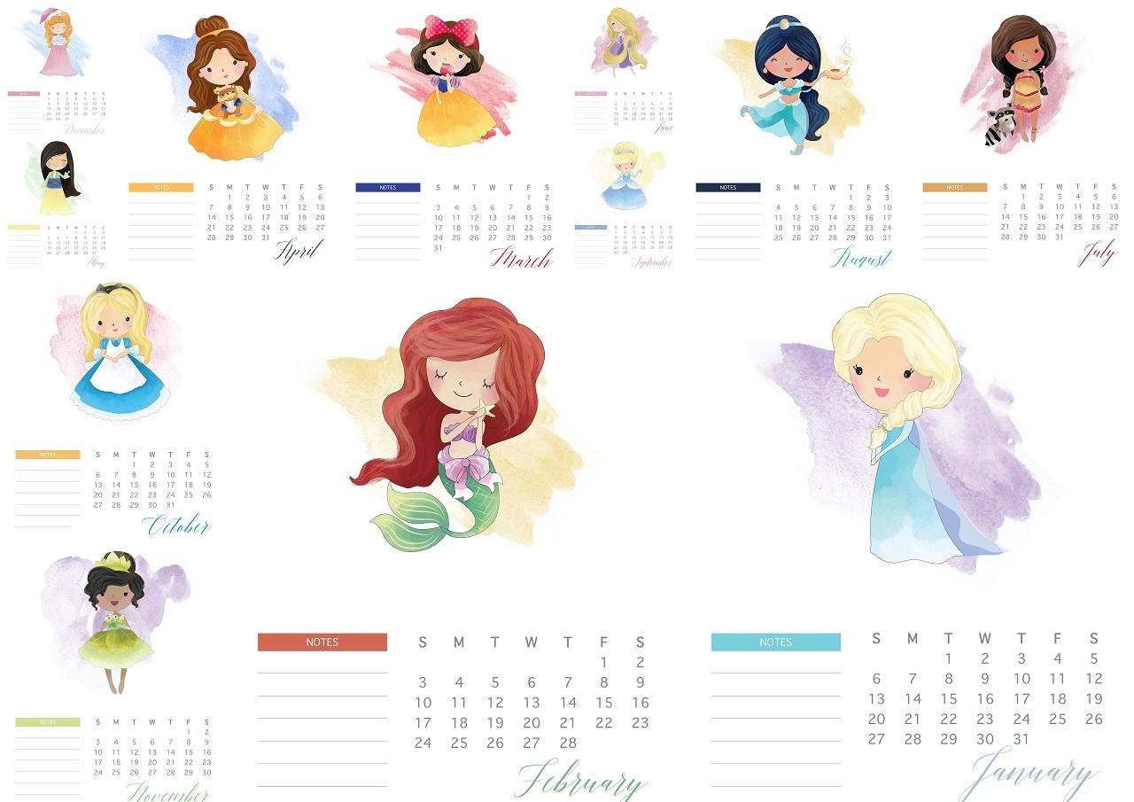 Disney Princess 2019 Free Printable Calendar.  Oh My Fiesta inside Disney Printable Calendar