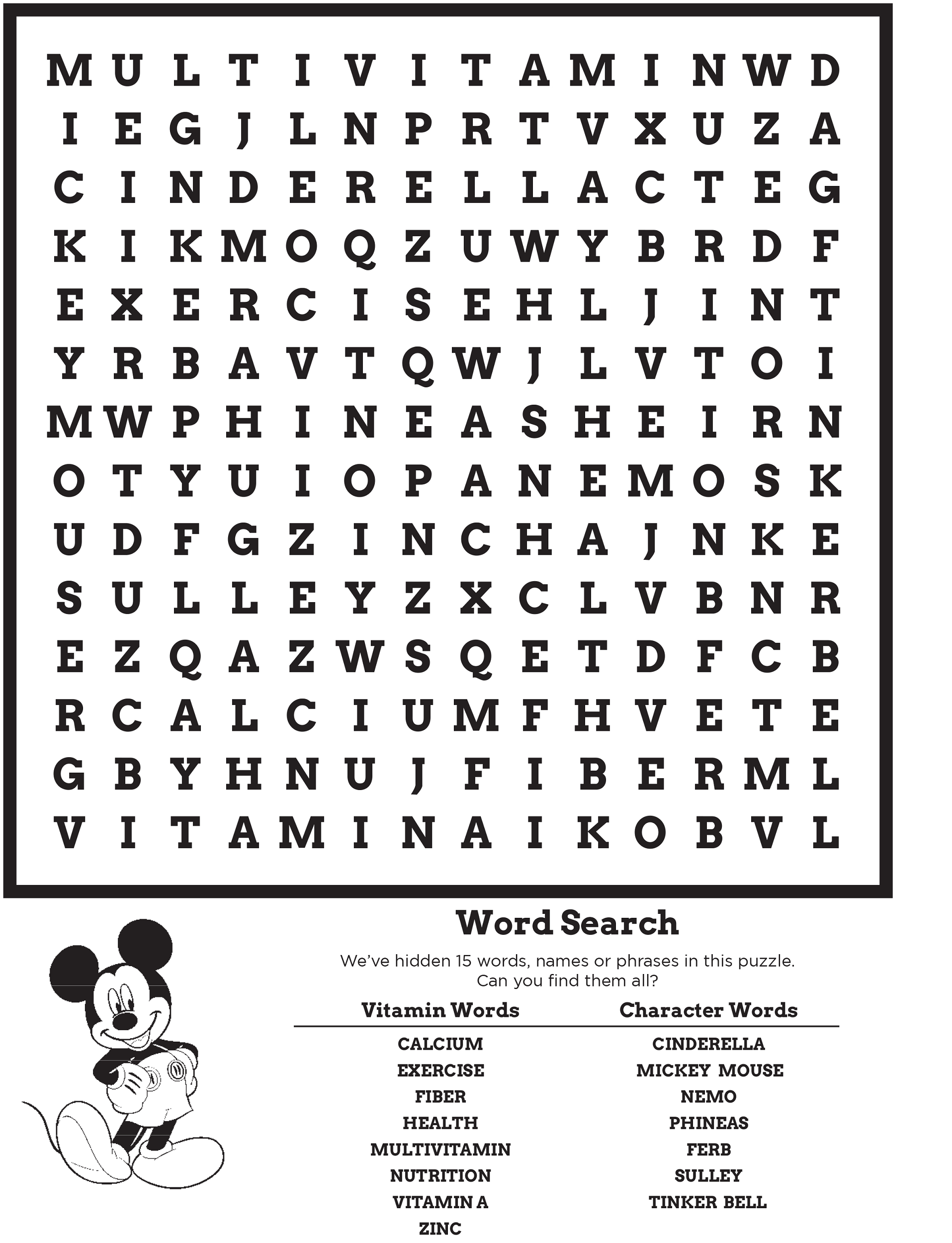 Disney Word Search Puzzles | Activity Shelter for Printable Disney Word Search