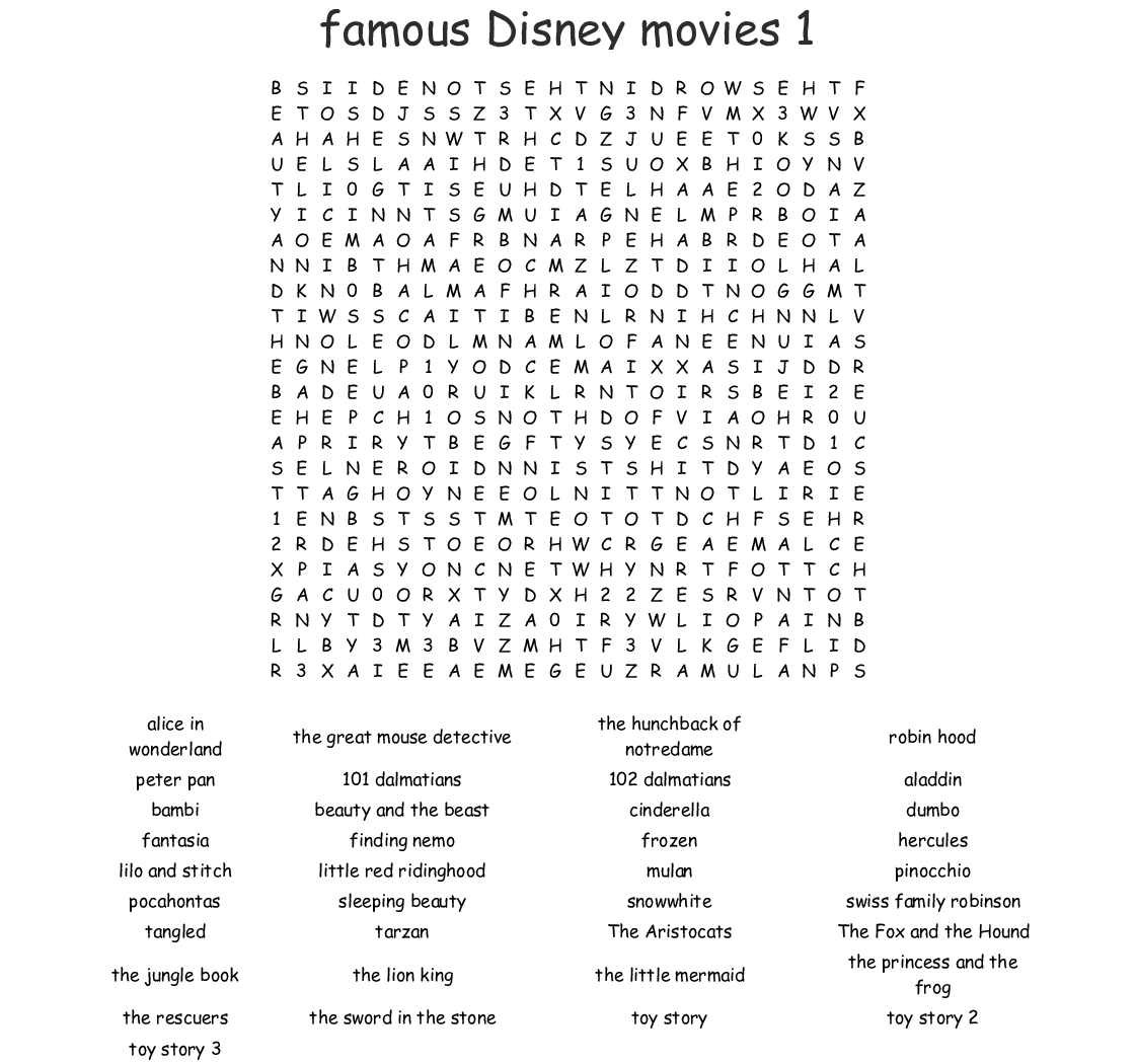 Disney Word Search  Wordmint intended for Disney Princesses Word Search