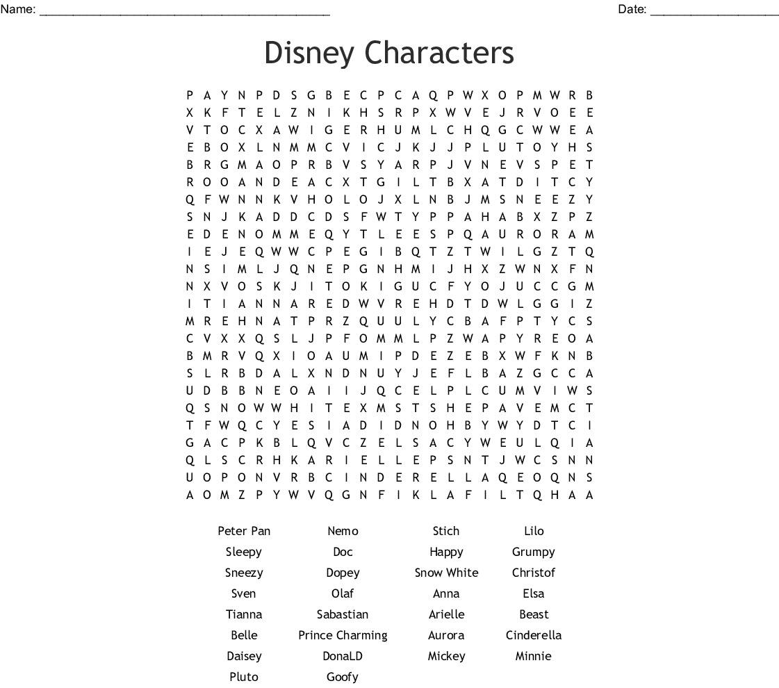 Disney Word Search  Wordmint with Printable Disney Word Search