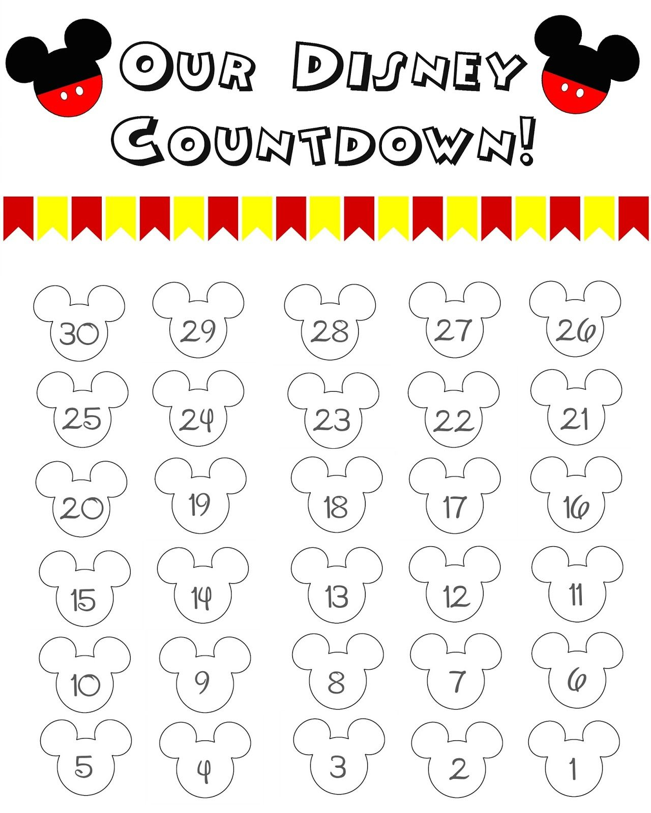 Disney World Countdown Calendar  Free Printable | Disney intended for Disney Countdown Calendar Printable
