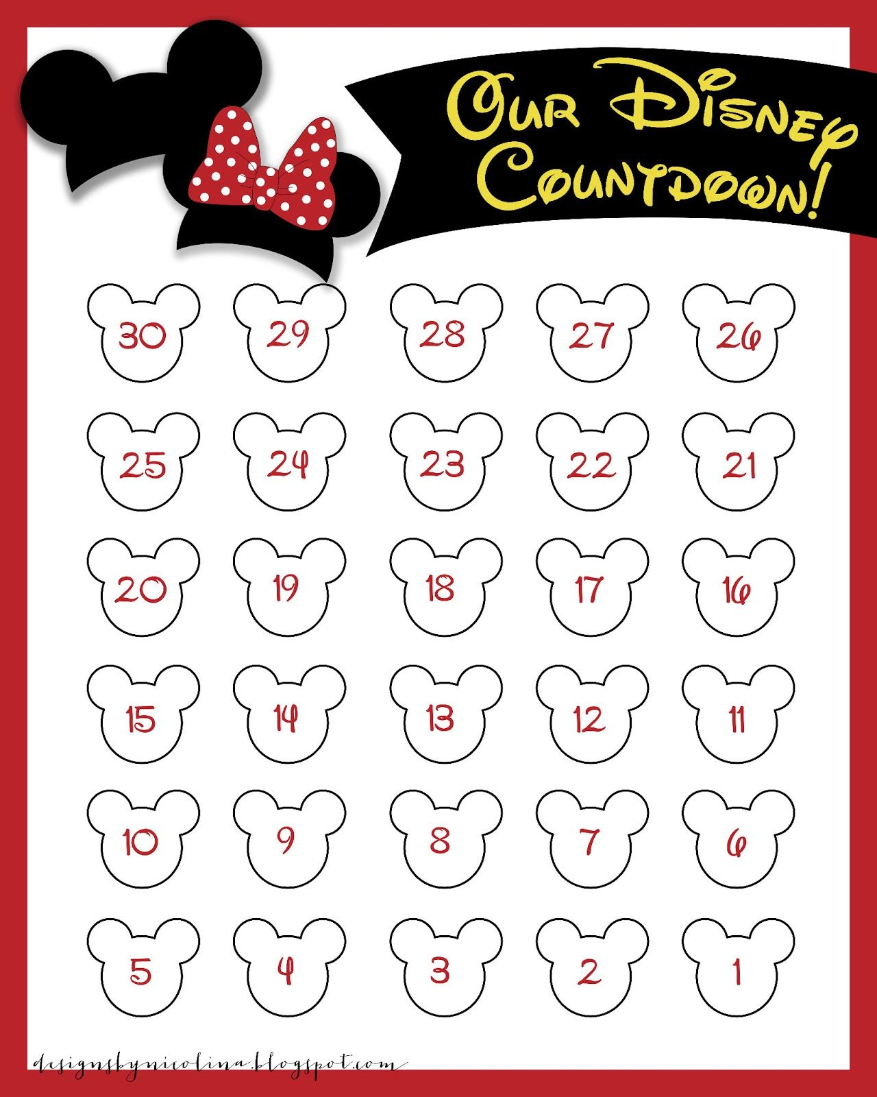 Disneyland Countdown Calendar | Designs By Nicolina: Disney pertaining to Disney Countdown Calendar Printable