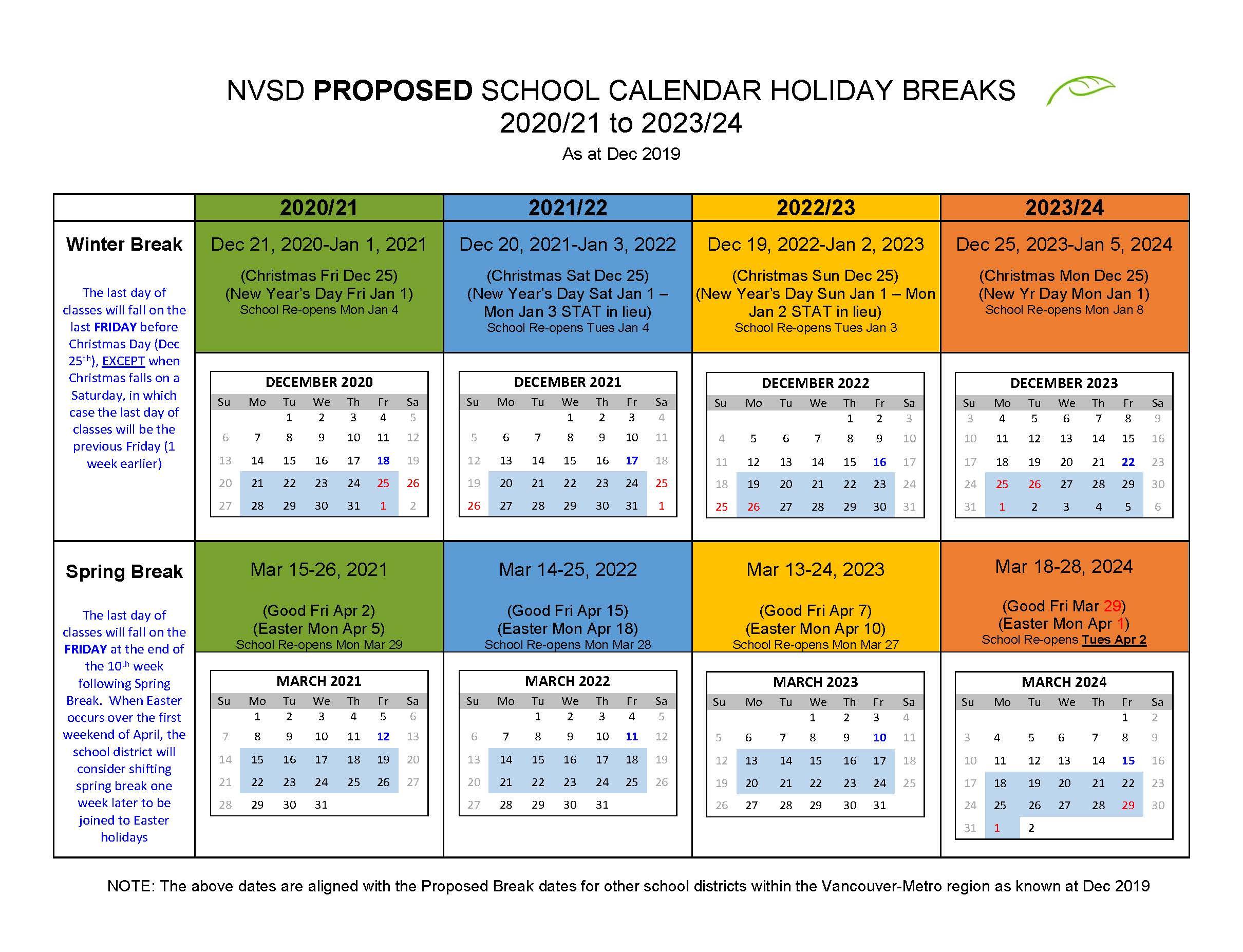 District Calendar  North Vancouver School District in Mulgrave School Calendar