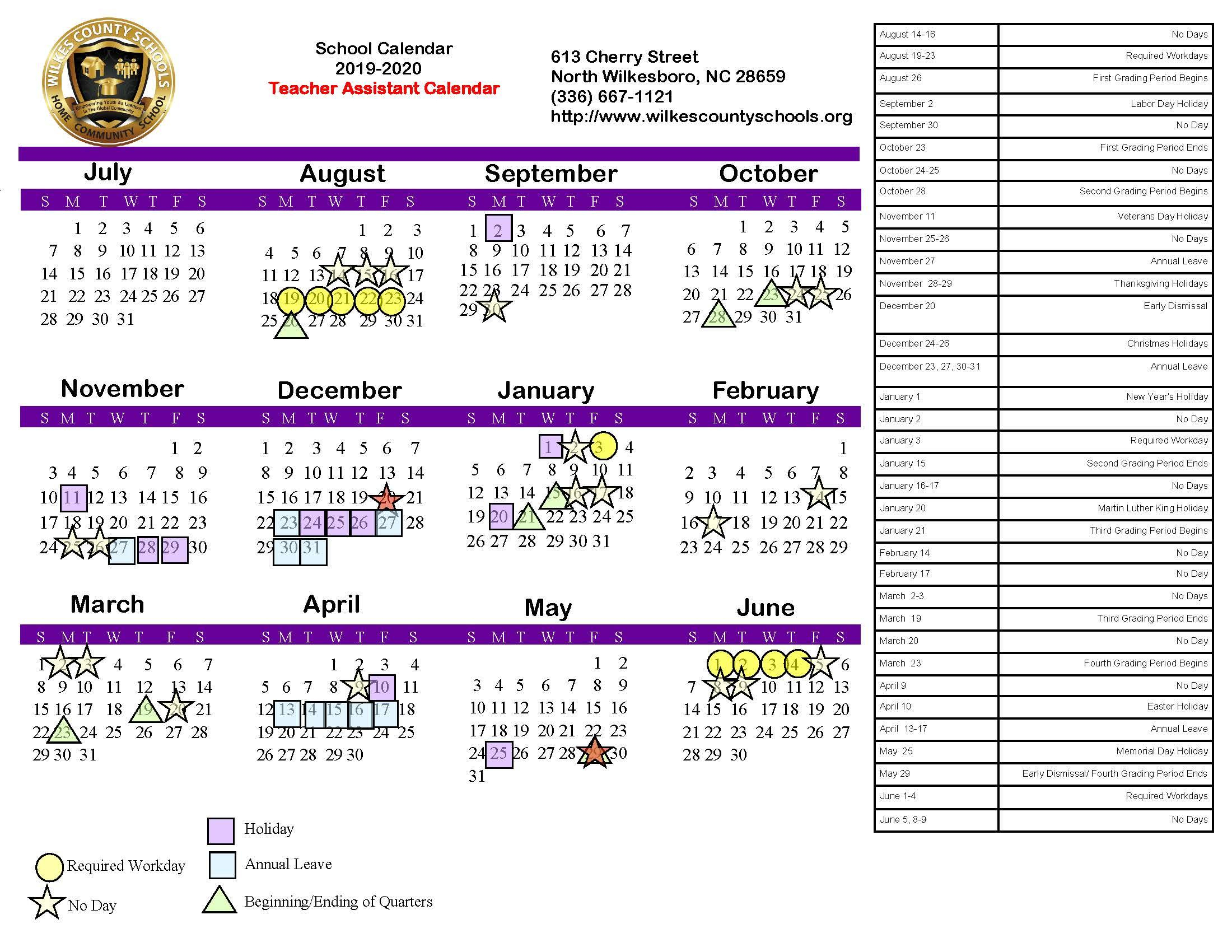 District Calendars – District – Wilkes County Schools with Near North District School Board Calendar