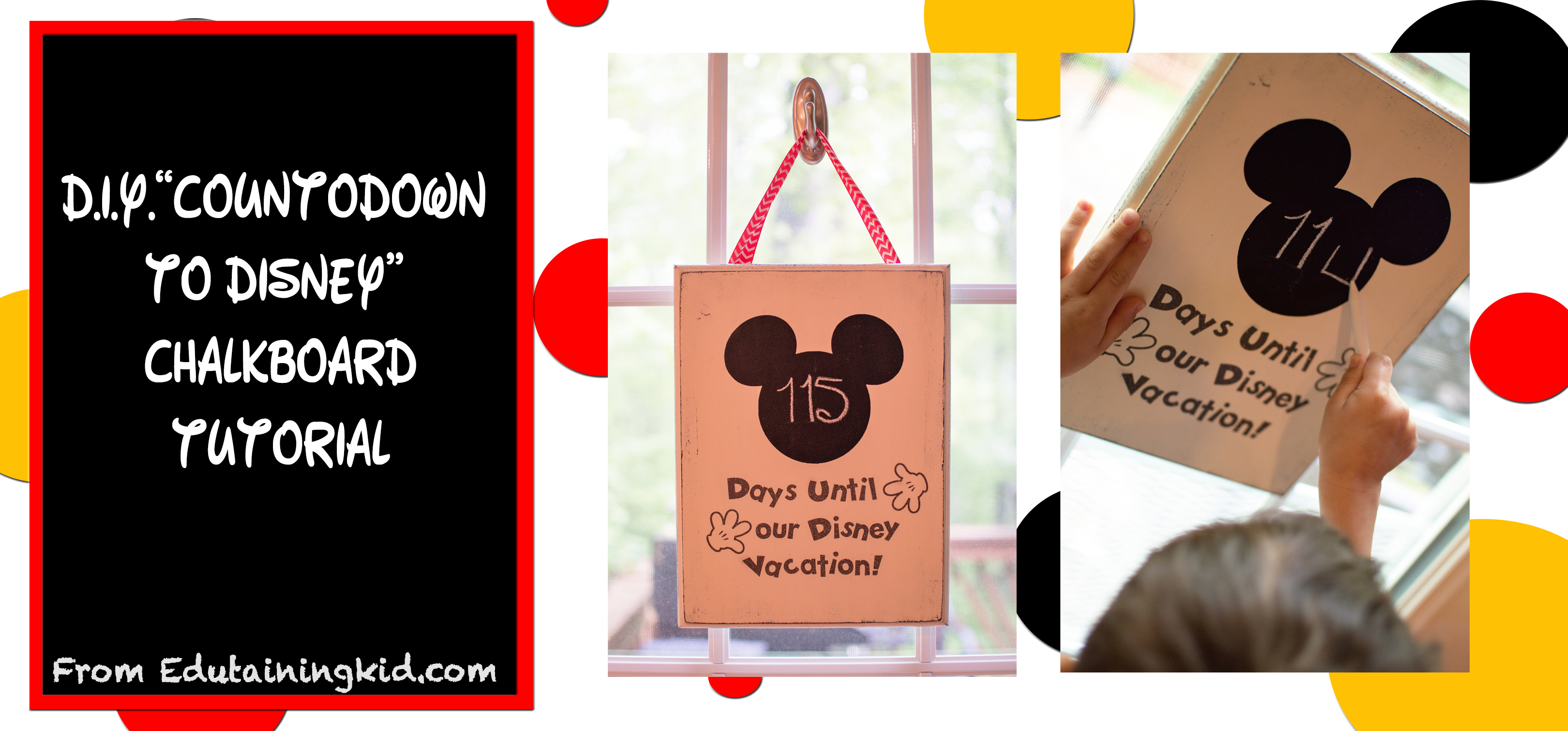 Diy Countdown To Disney Chalkboard  Edutaining Adventures with Disney Countdown Widget