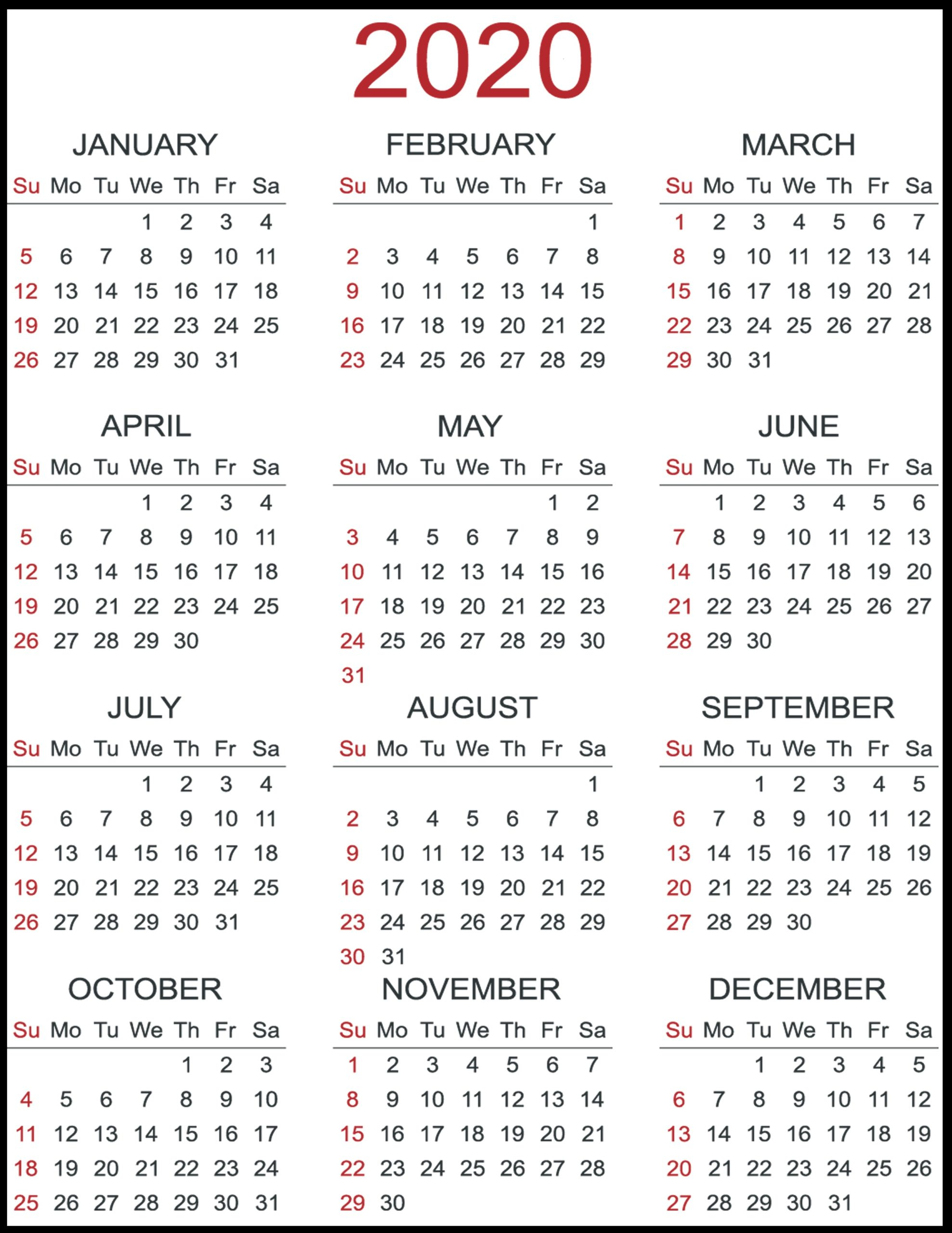 Download 12 Month Calendar 2020 – Printable Picture regarding Printable 12 Month 2020 Calendar